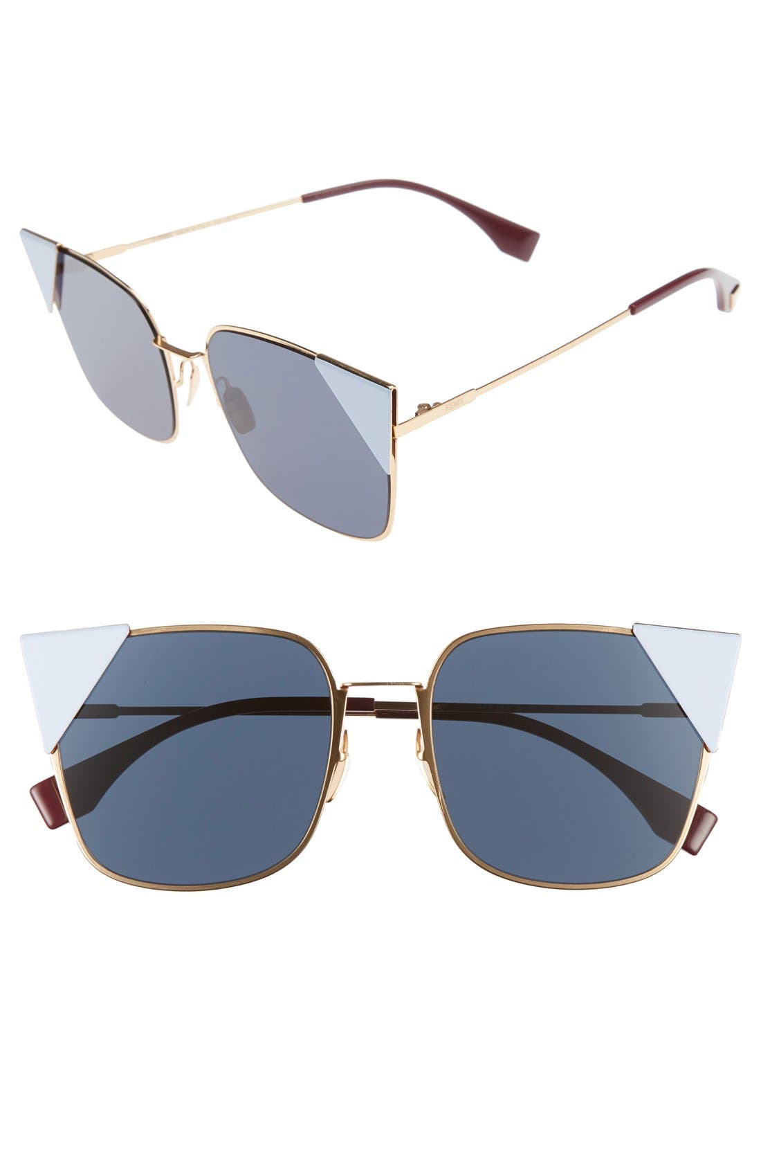 55mm Tipped Cat Eye Sunglasses,                             Main thumbnail 1, color,                             ROSE METALLIC GOLD