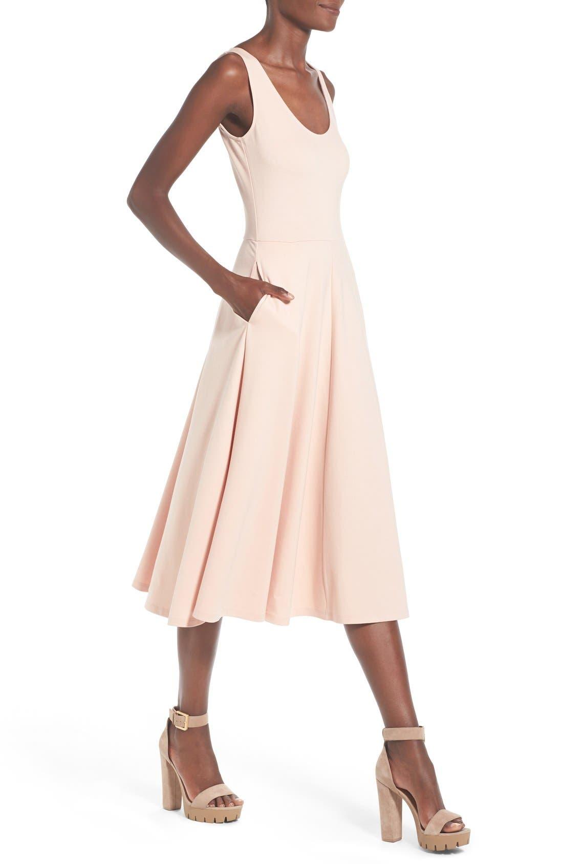Stretch Knit Midi Dress,                             Alternate thumbnail 70, color,