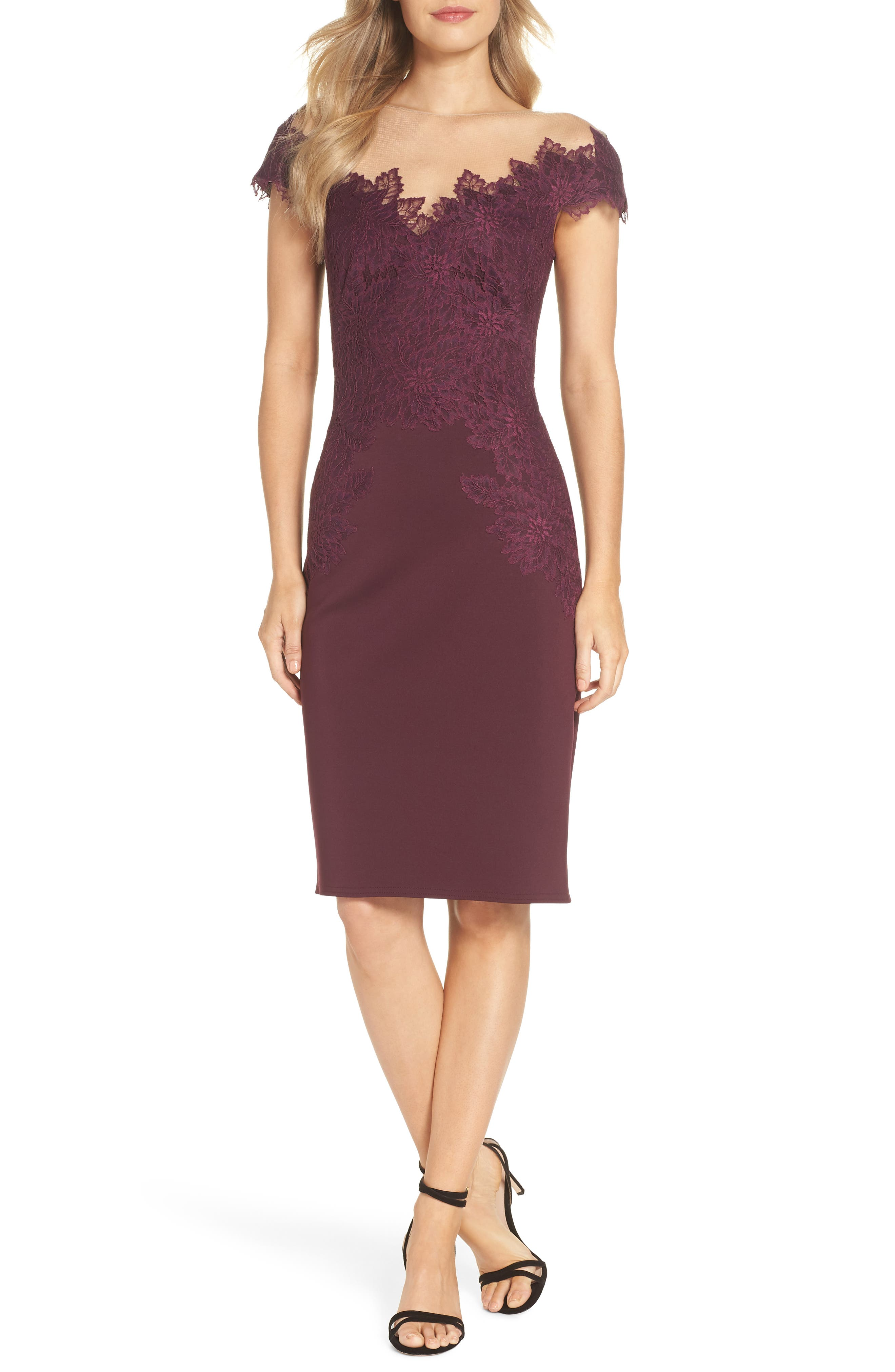 Lace Embellished Body-Con Dress,                             Main thumbnail 1, color,                             510