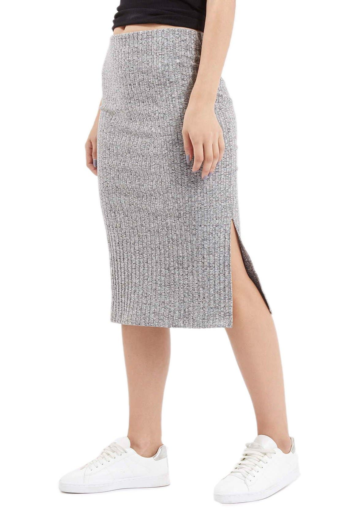 Ribbed Tube Skirt,                             Main thumbnail 1, color,                             020