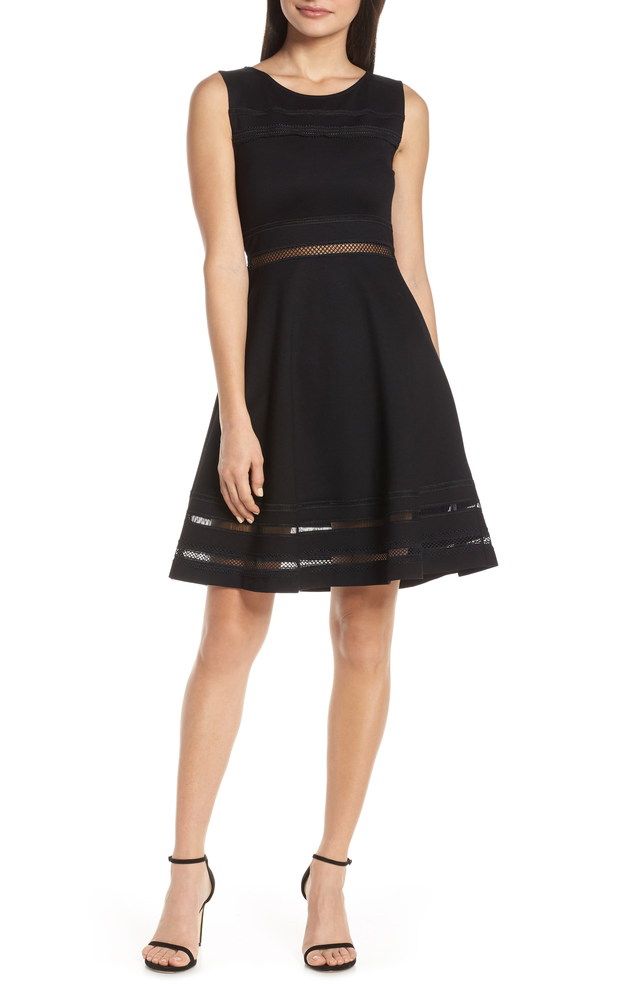 French Connection Scille Lula Jersey Fit & Flare Dress, Black