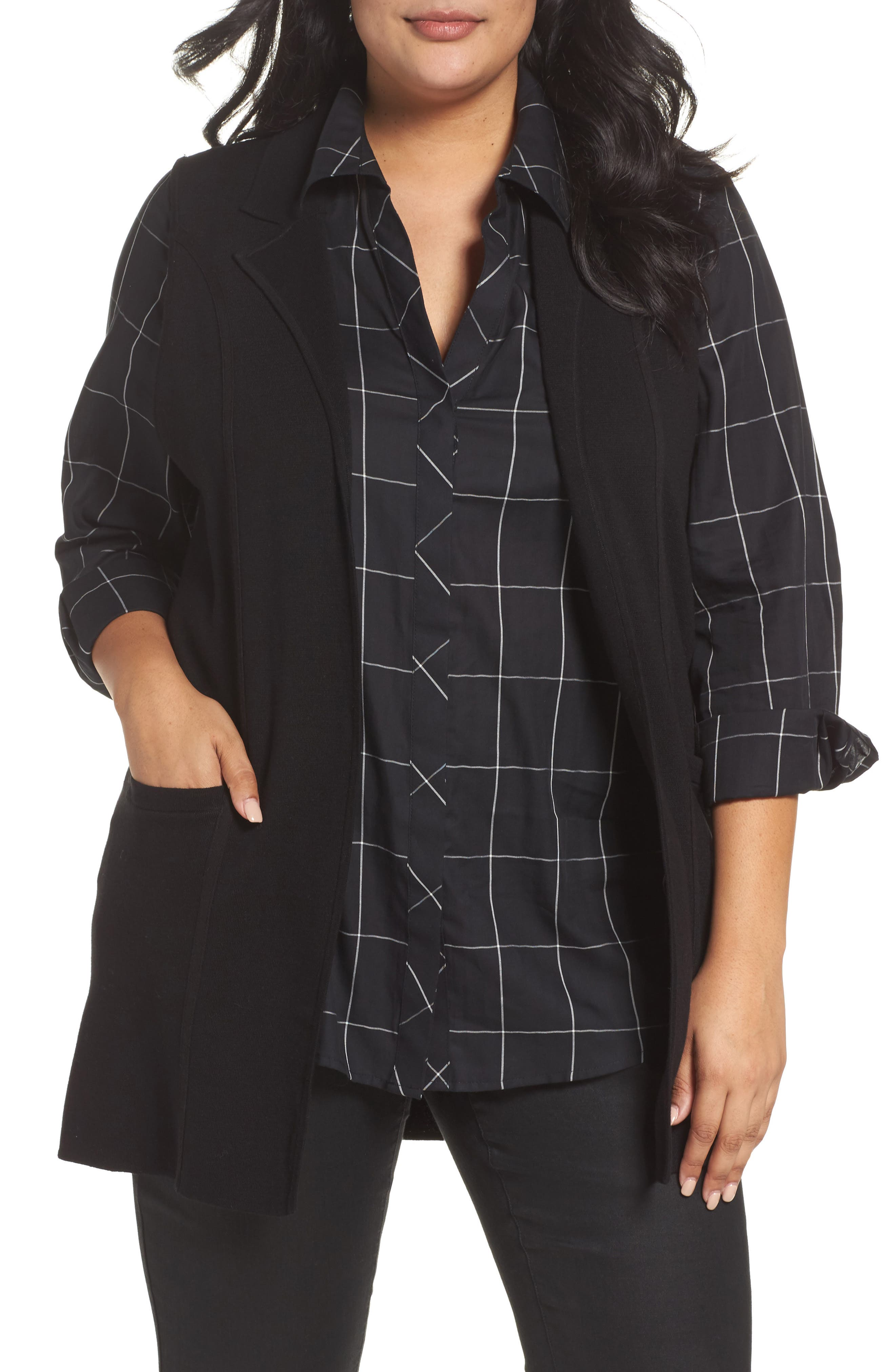 Jodi Longline Sweater Vest,                         Main,                         color, BLACK
