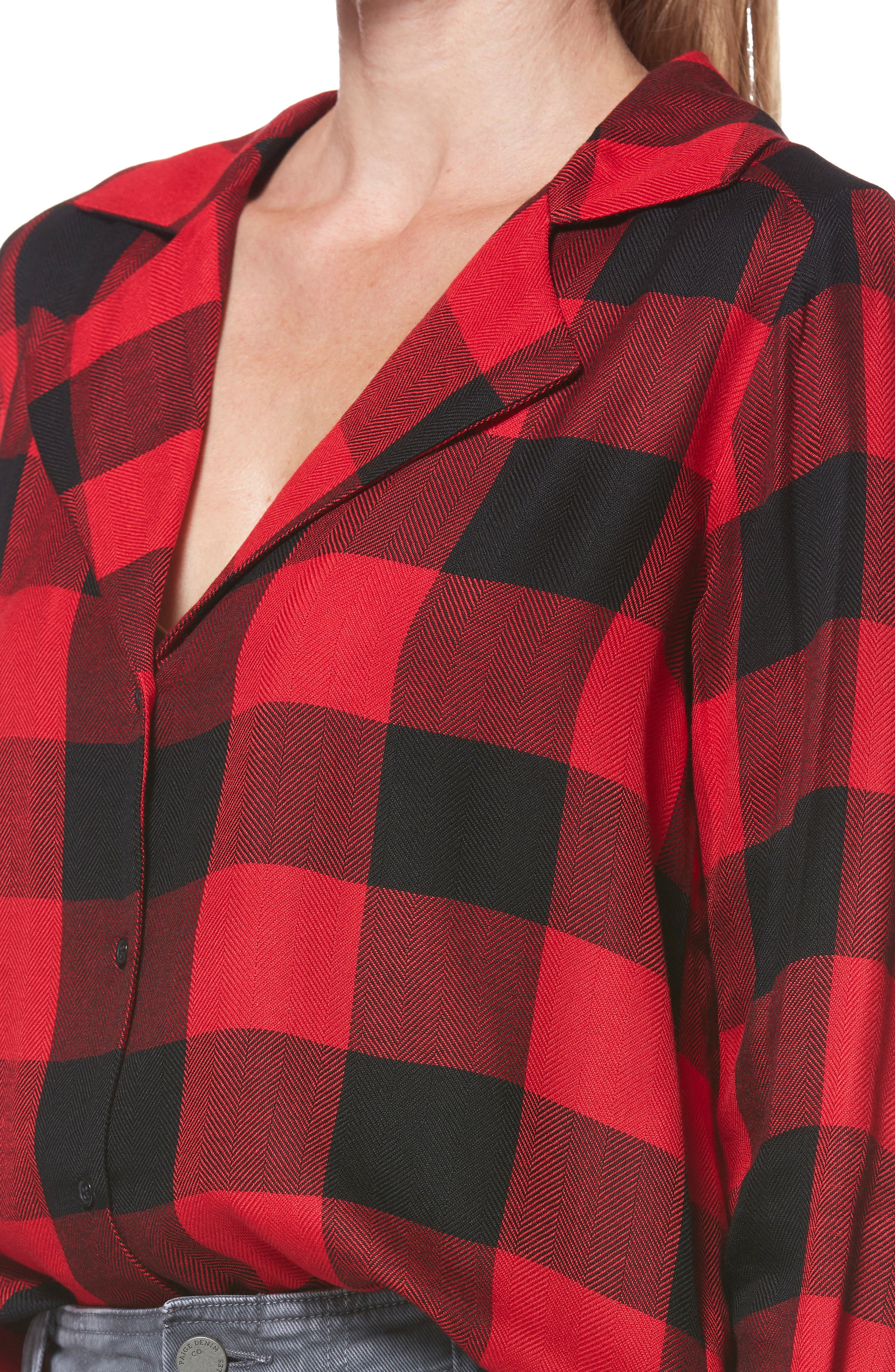 PAIGE,                             Elora Shirt,                             Alternate thumbnail 4, color,                             TRUE RED / BLACK