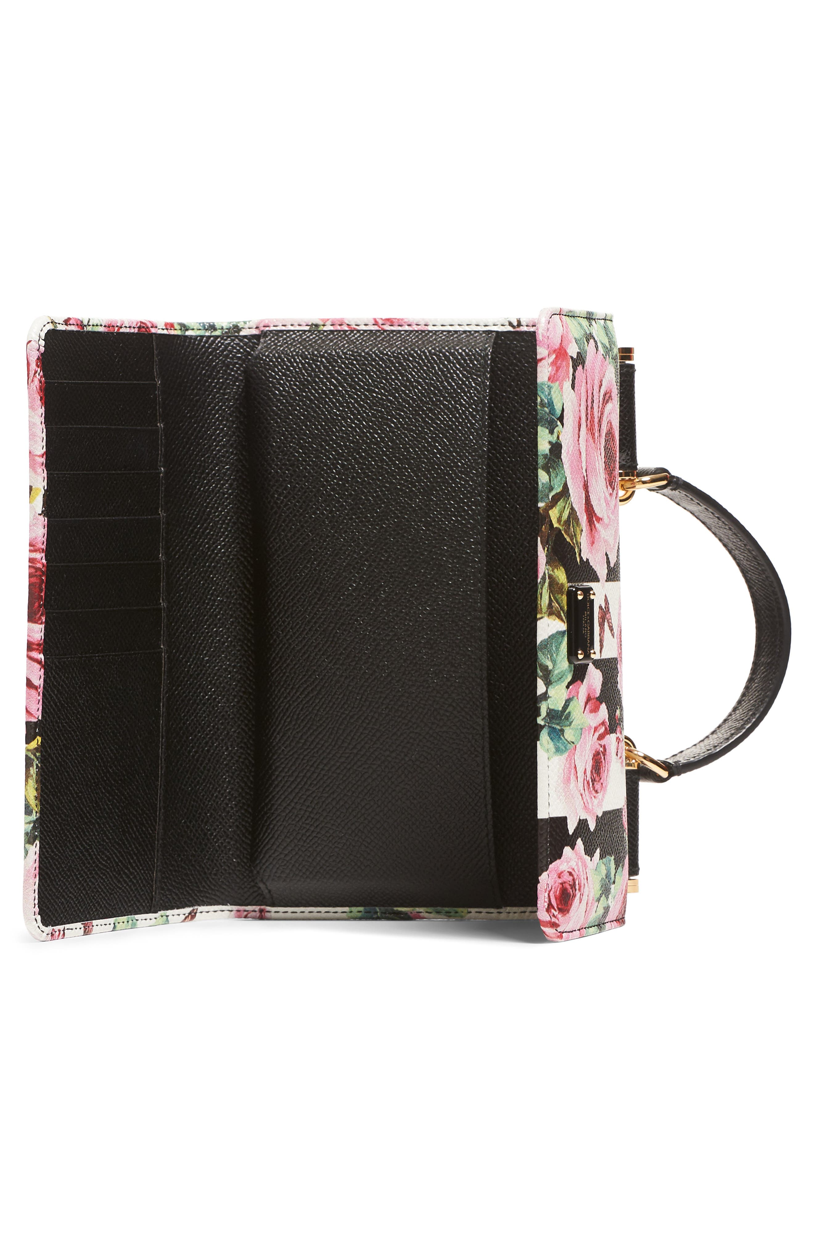 Mini Stripe Floral Calfskin Leather Bag,                             Alternate thumbnail 3, color,                             650