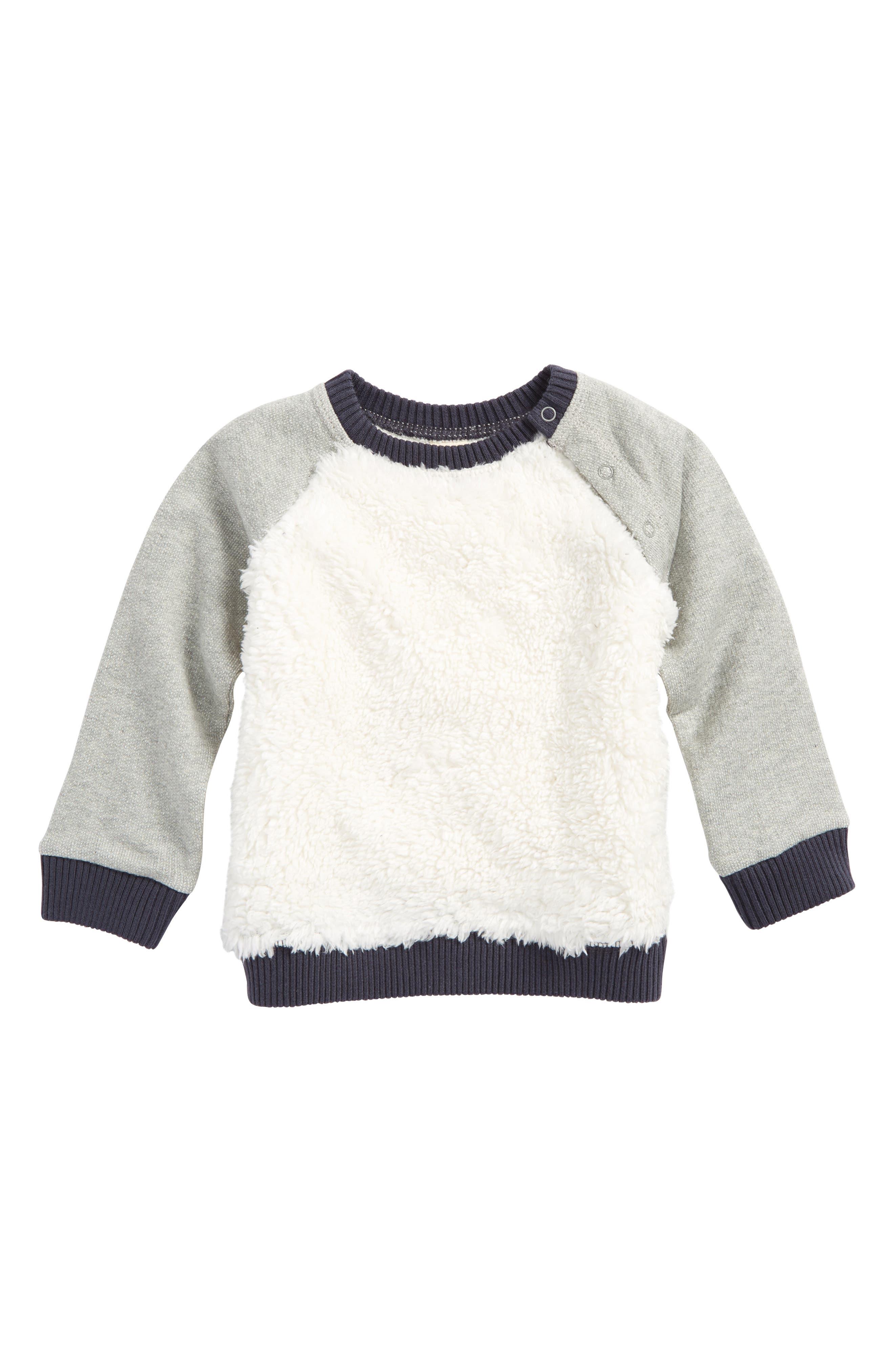 Cozy Faux Fur Baseball Sweater,                             Main thumbnail 1, color,                             900