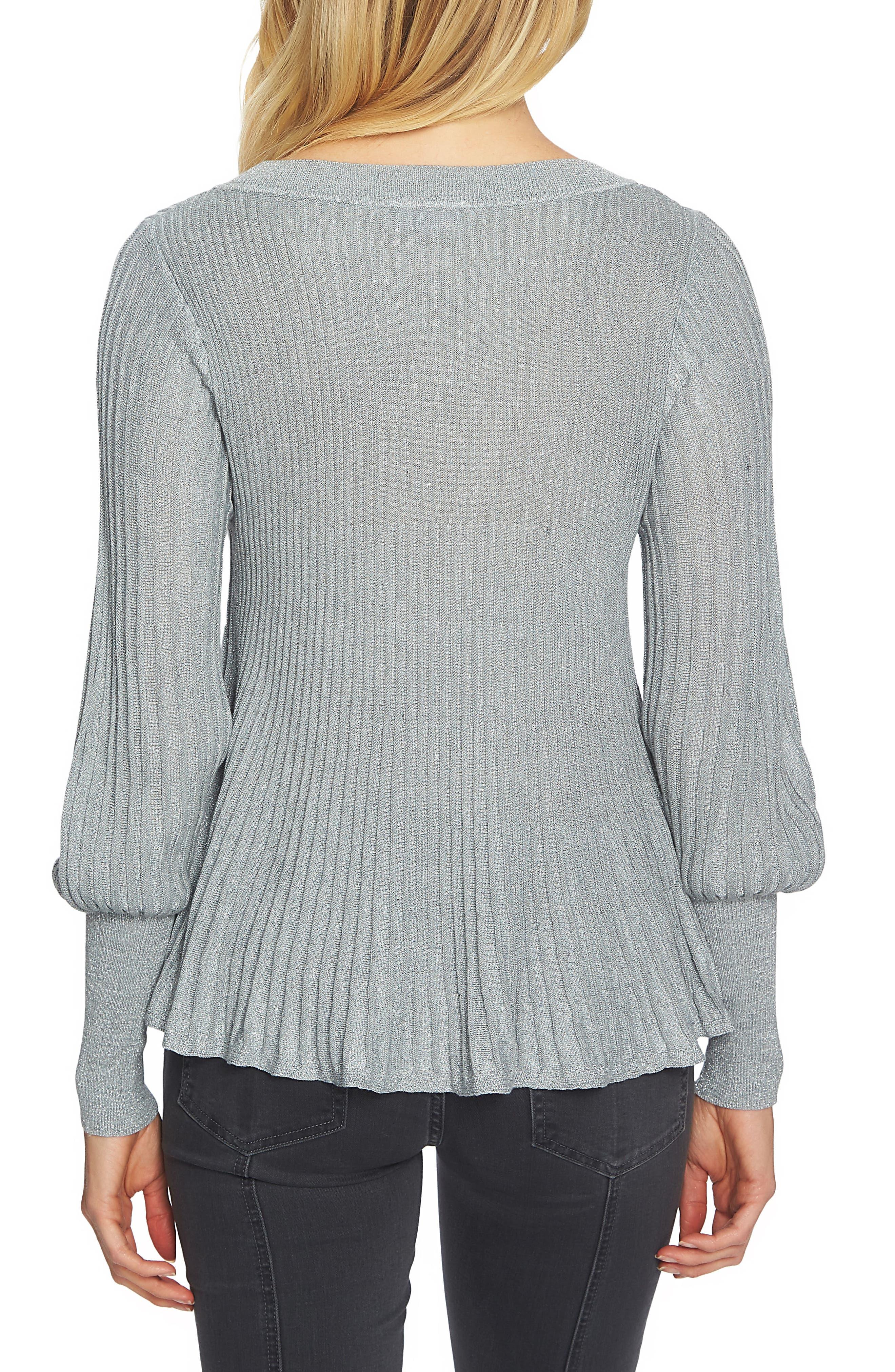 Blouson Sleeve Metallic Swing Sweater,                             Alternate thumbnail 2, color,                             078
