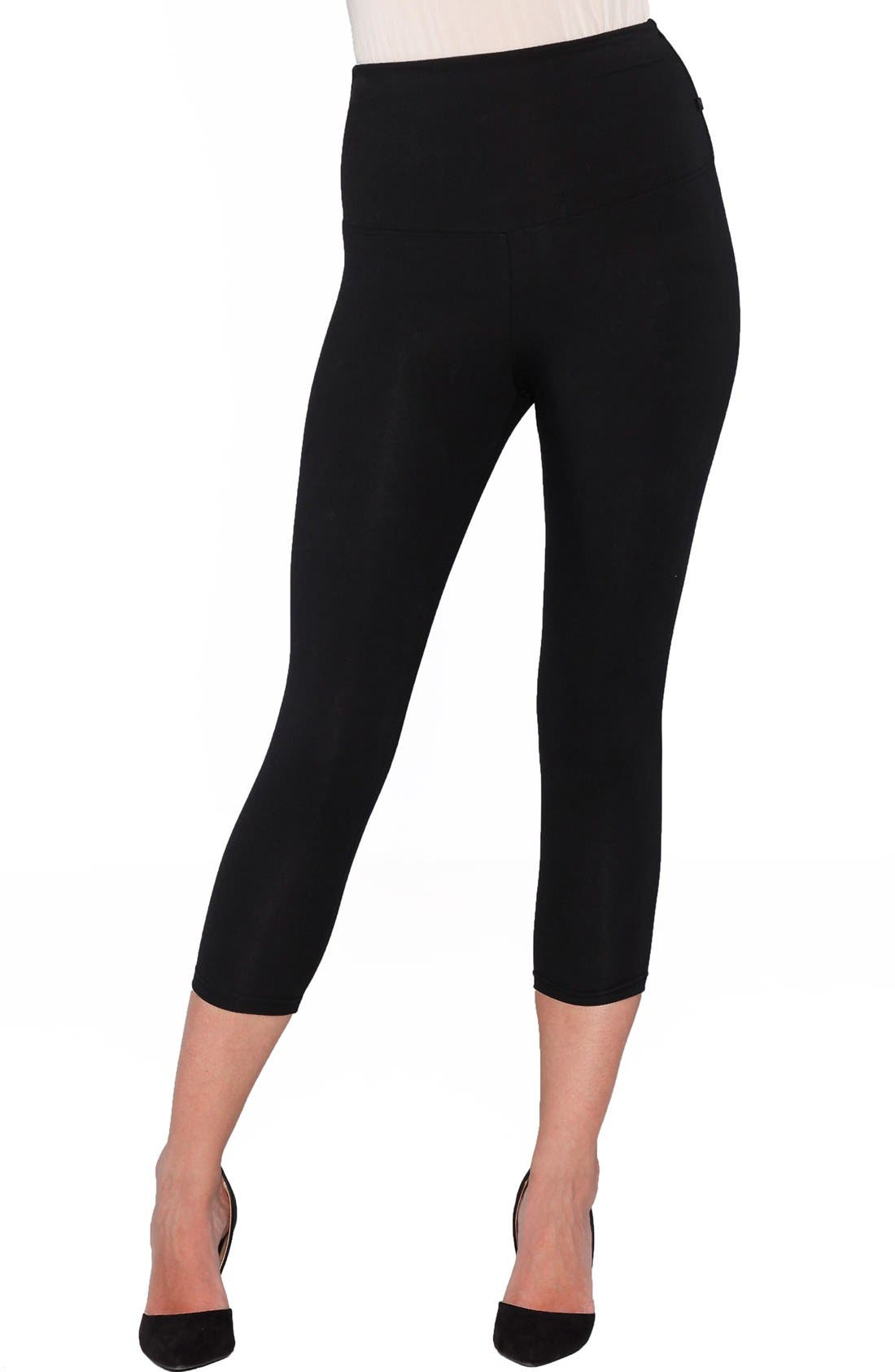 'The Tummy Tight' Capri Postpartum Leggings,                         Main,                         color, BLACK