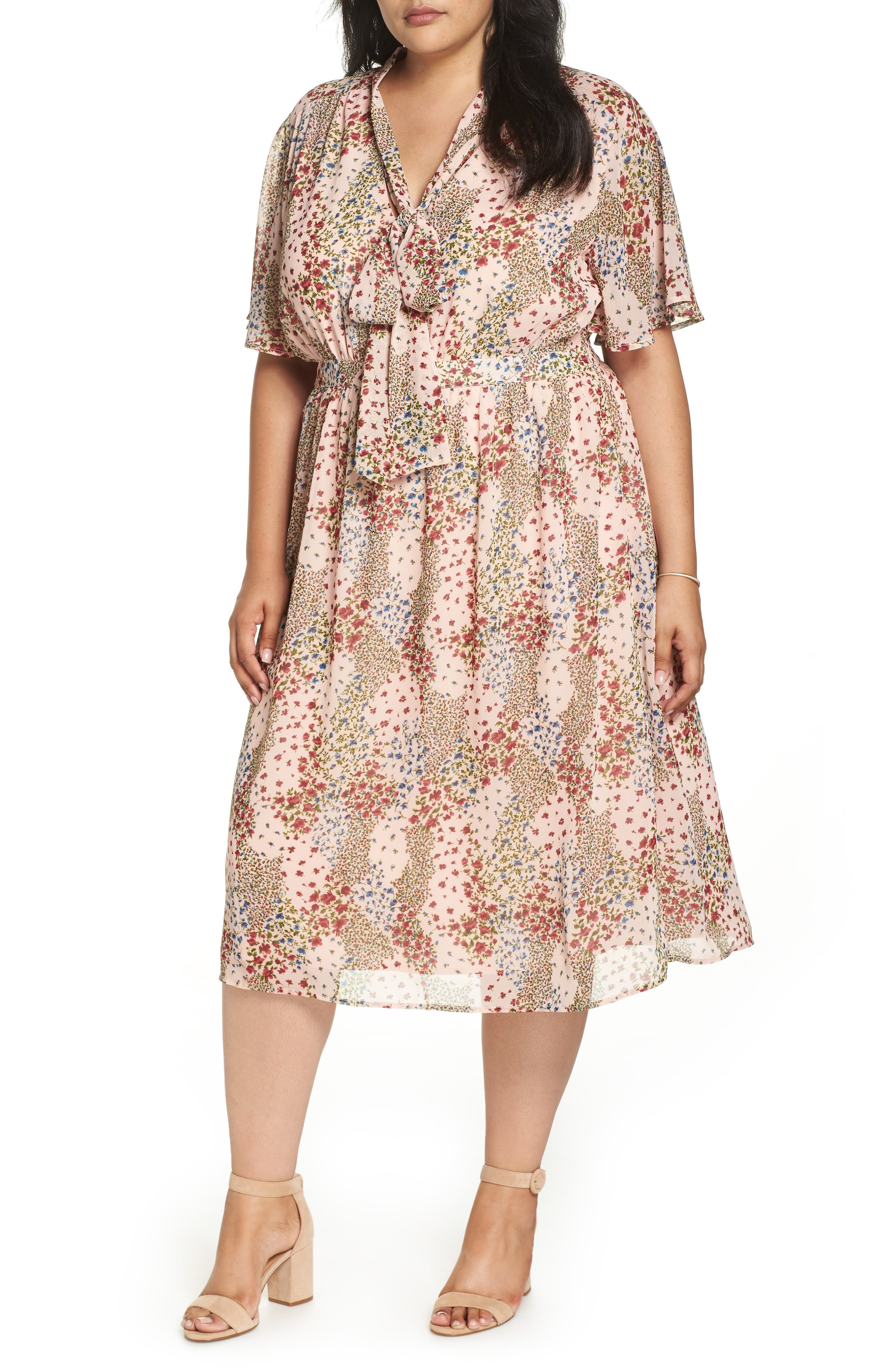 Tie Neck Floral Dress,                         Main,                         color, 958