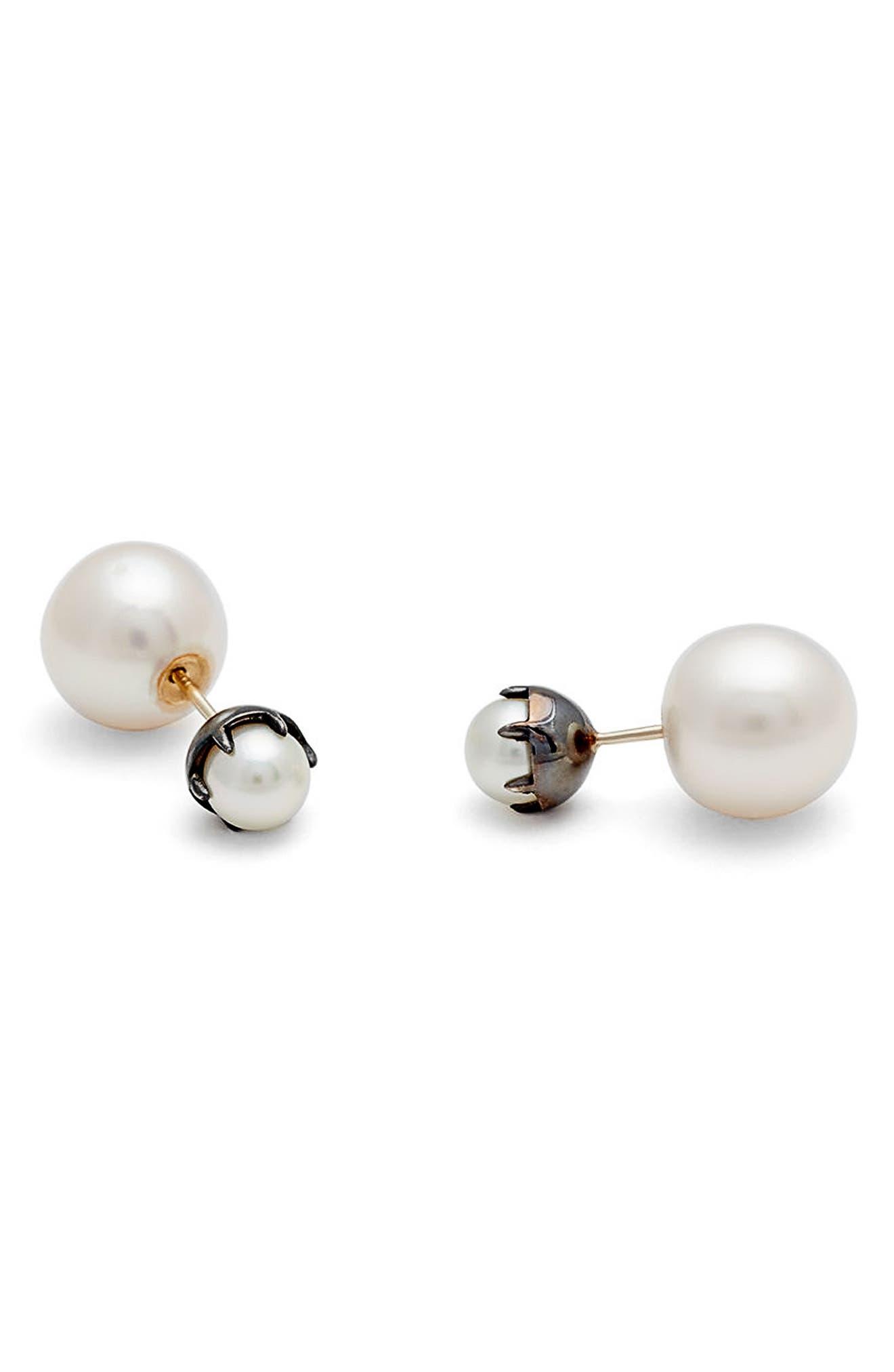 Akoya & Freshwater Pearl Double Stud Earrings,                             Main thumbnail 1, color,                             710