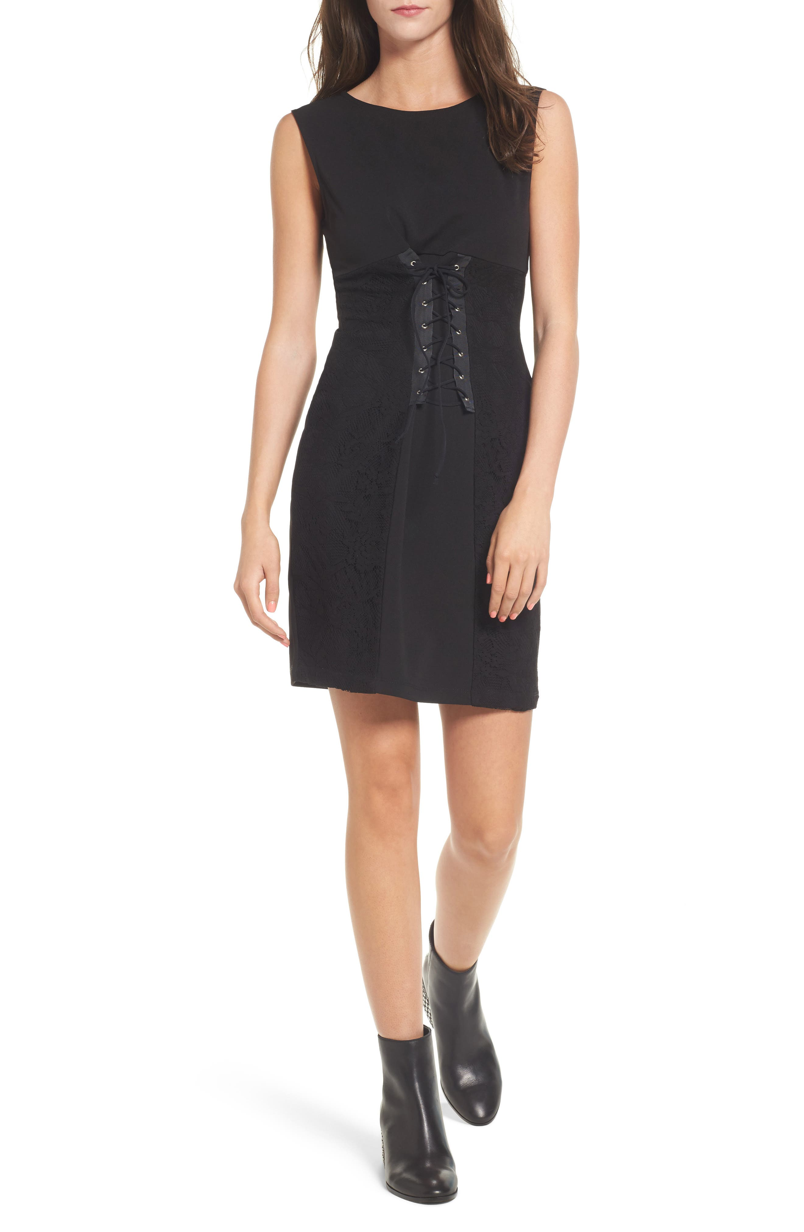 Corset Waist Lace Minidress,                             Main thumbnail 1, color,                             001