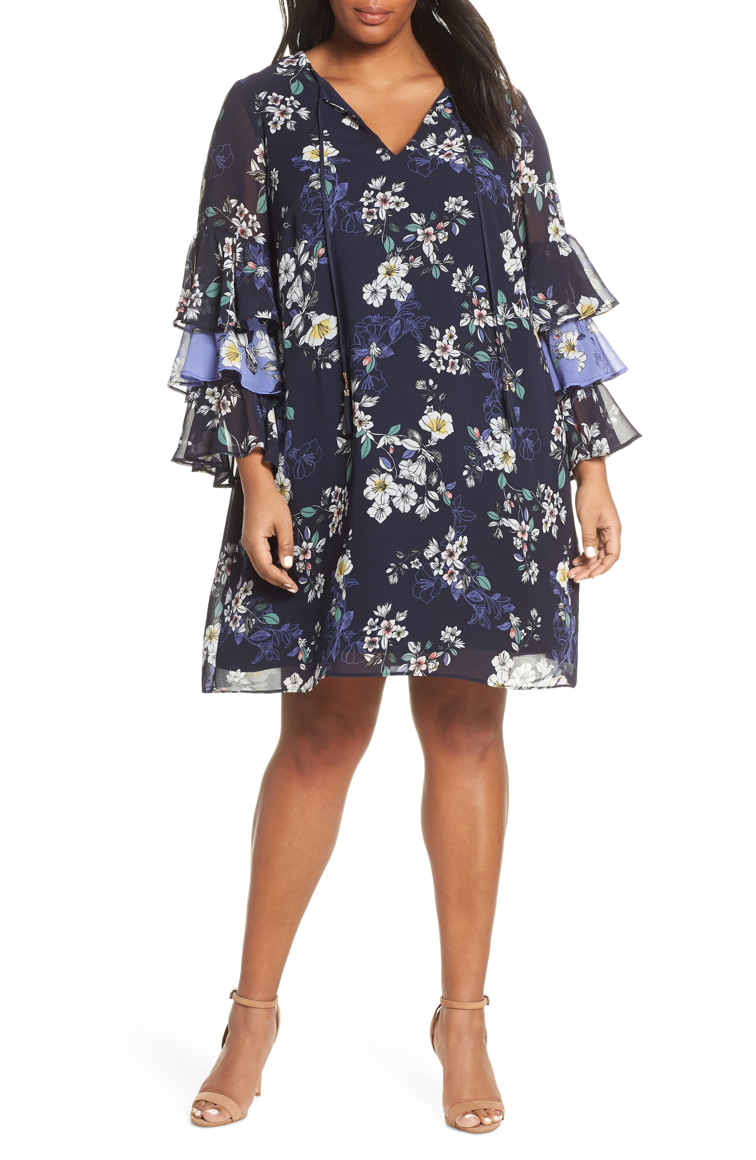Plus Size Vince Camuto Tiered Ruffle Sleeve Shift Dress, Blue