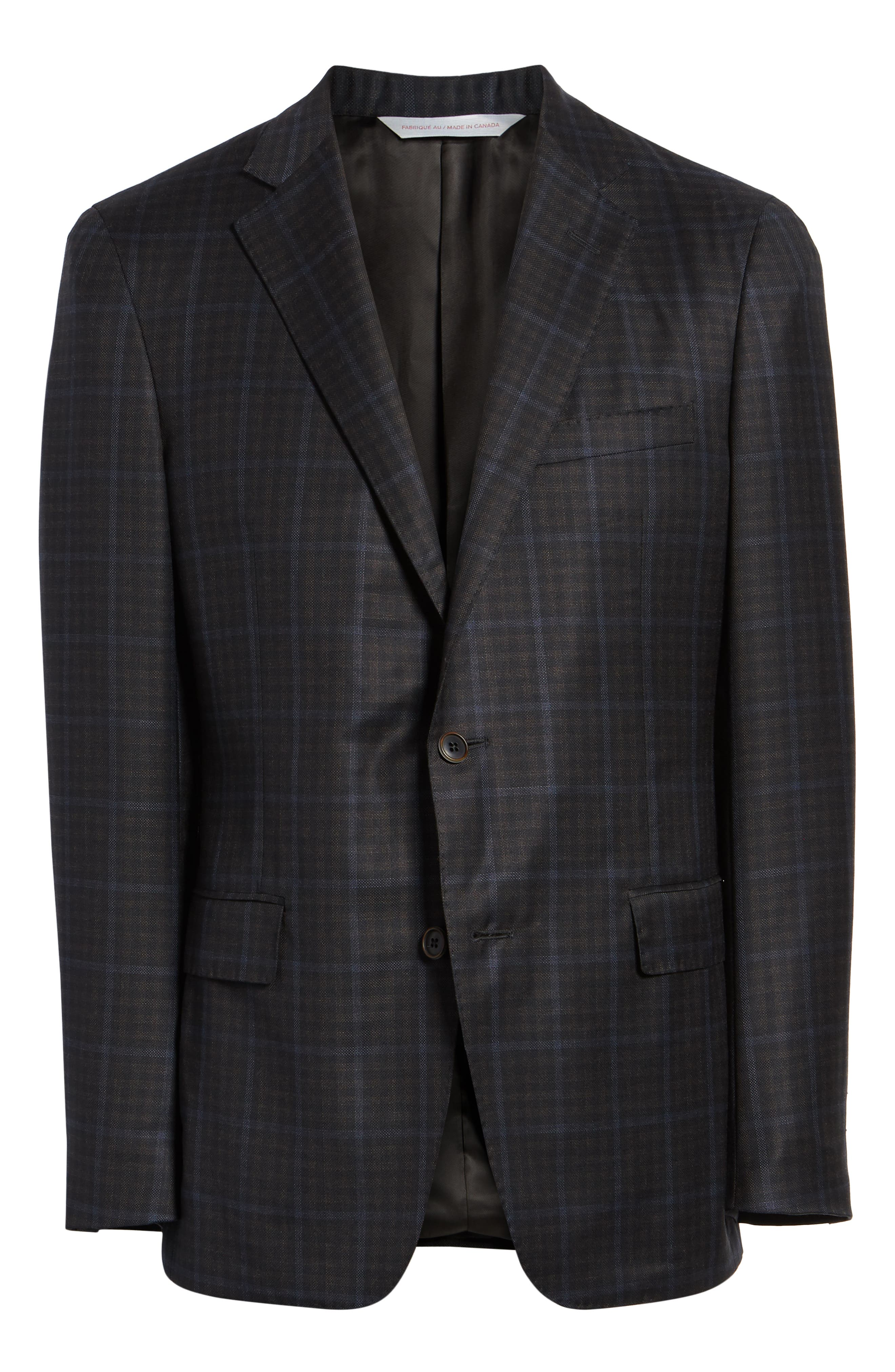 Classic Fit Check Wool Sport Coat,                             Alternate thumbnail 5, color,                             NAVY/ BROWN