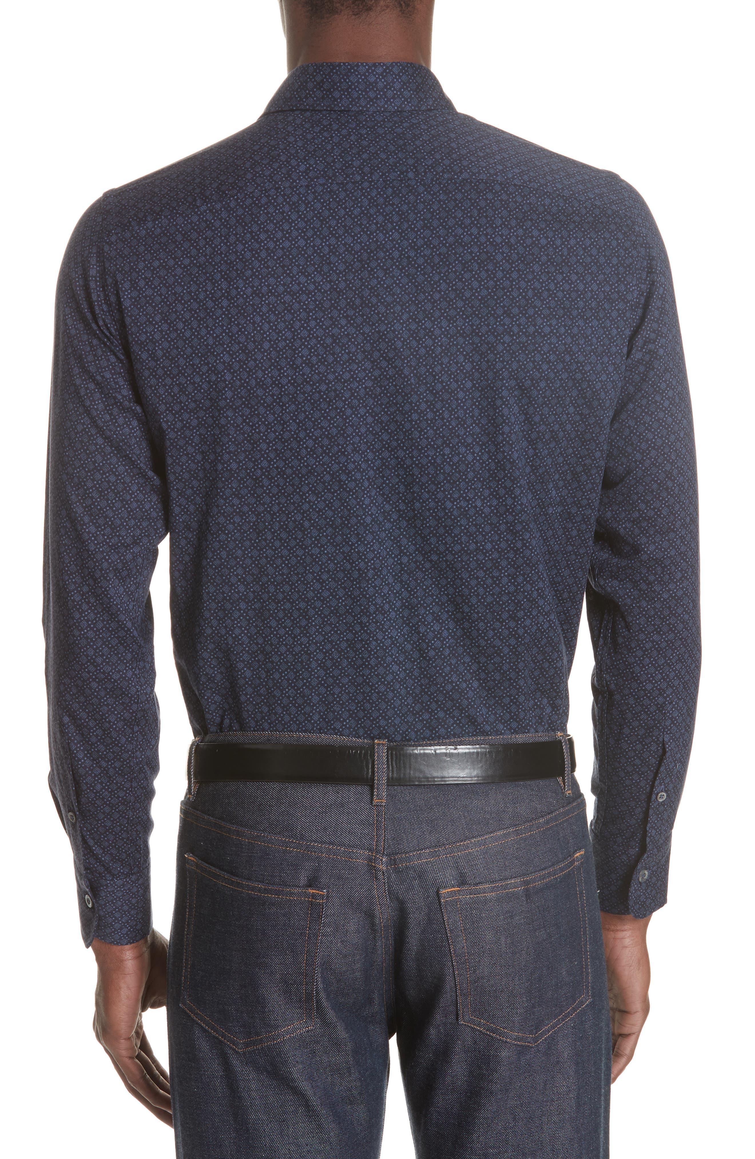 Regular Fit Easy Care Geometric Sport Shirt,                             Alternate thumbnail 3, color,                             NAVY
