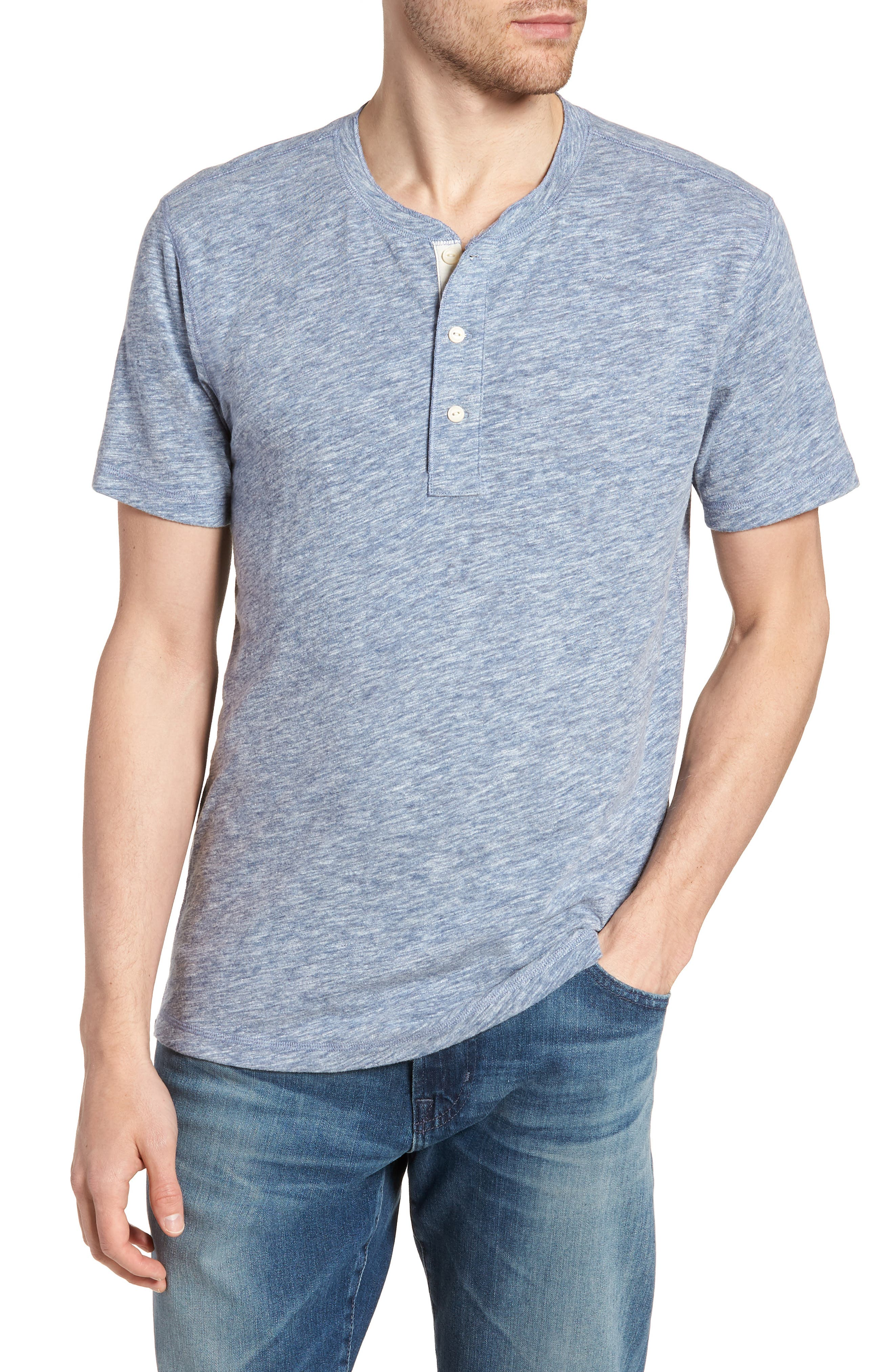 Short Sleeve Heathered Henley,                         Main,                         color, 468