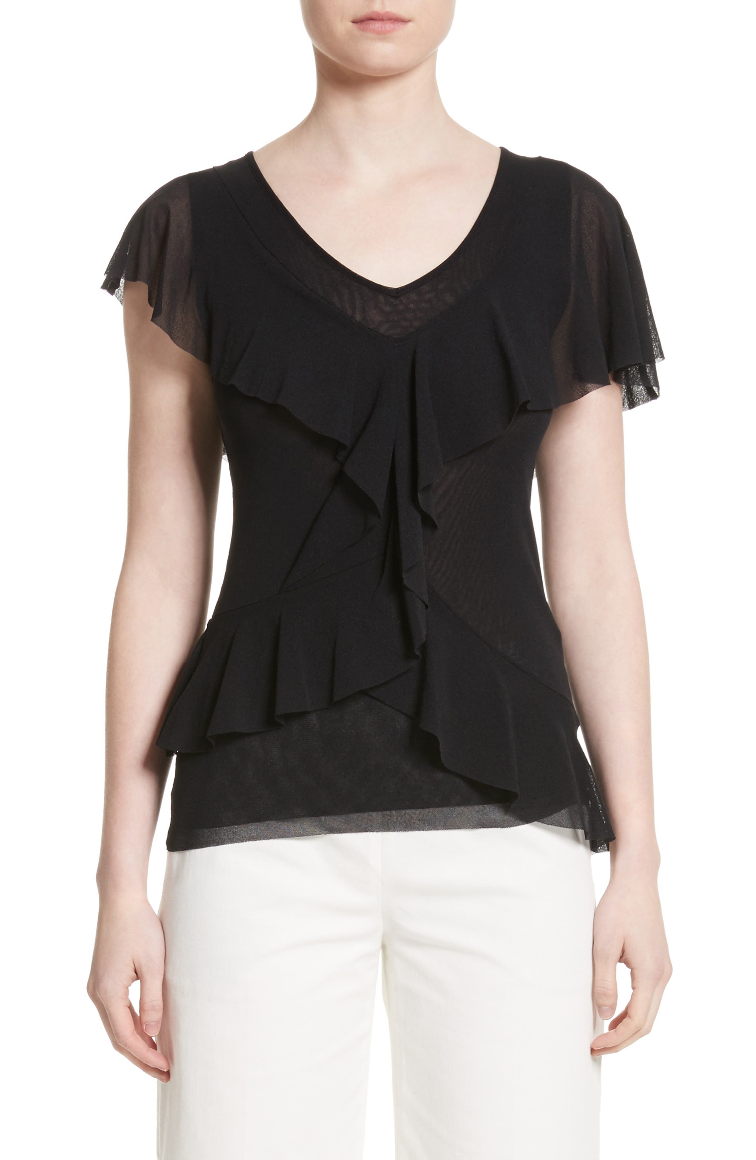 Ruffle Tulle Top,                         Main,                         color, 001