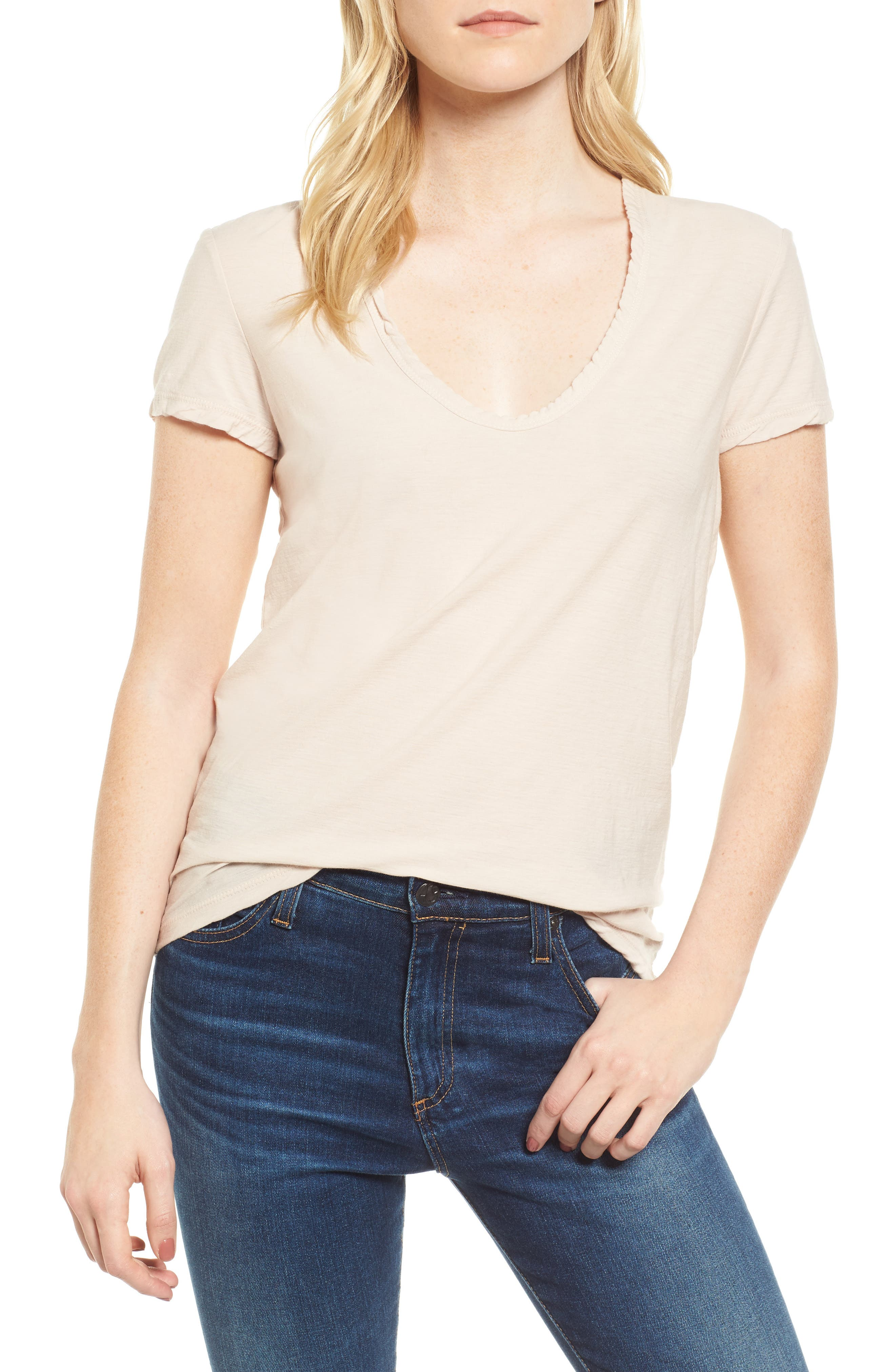 Deep V-Neck Tee,                             Main thumbnail 1, color,