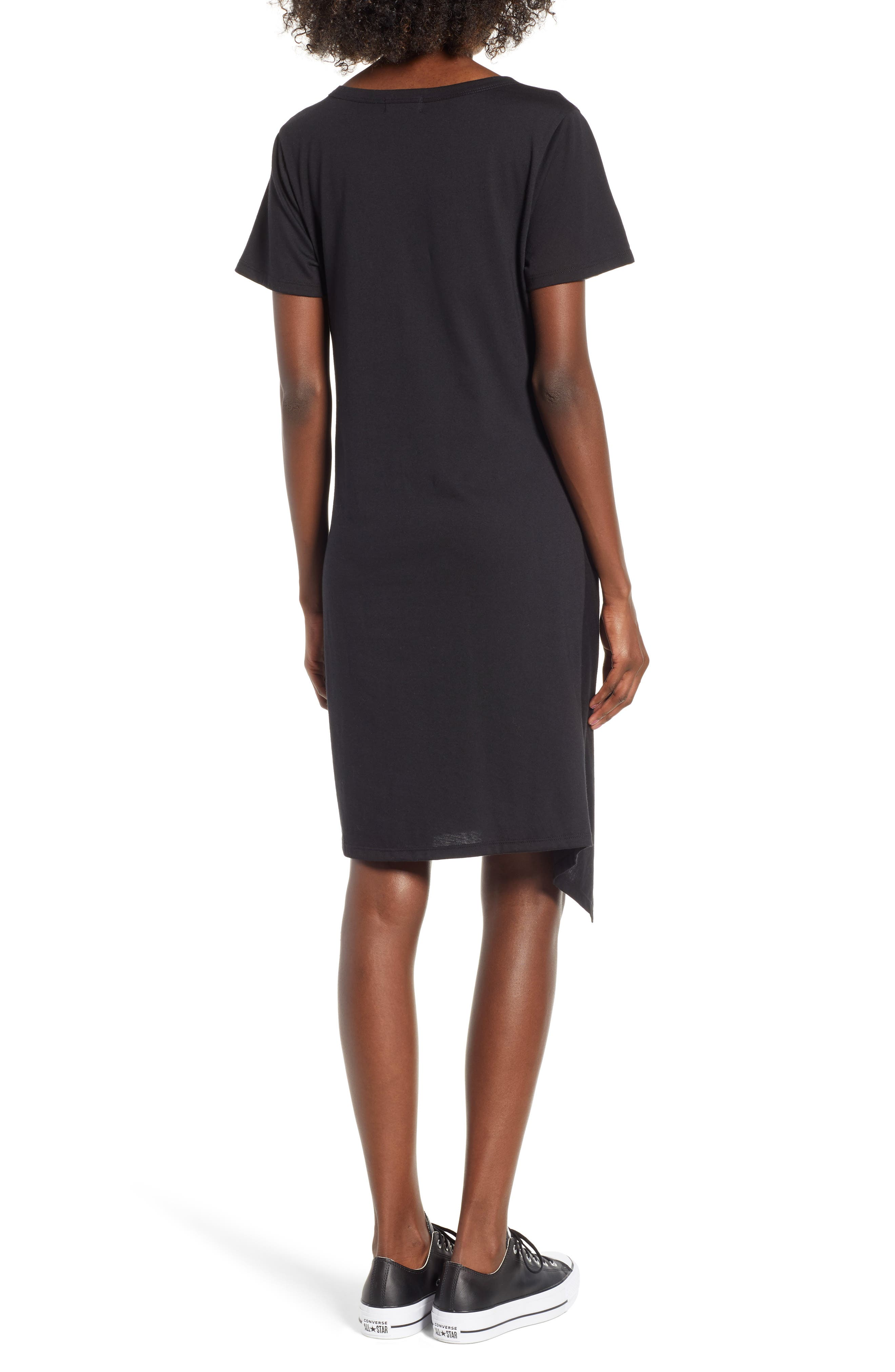 Tie Waist T-Shirt Dress,                             Alternate thumbnail 2, color,                             BLACK