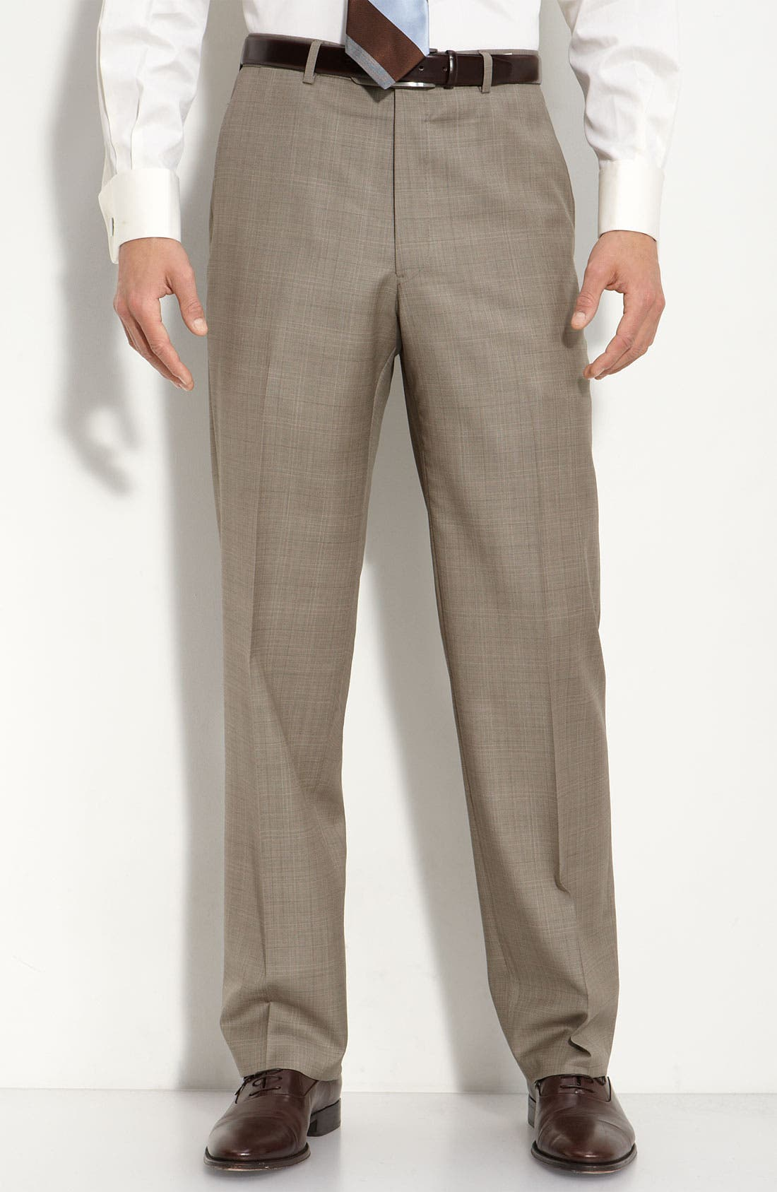 Tan Plaid Worsted Wool Suit,                             Alternate thumbnail 2, color,                             230
