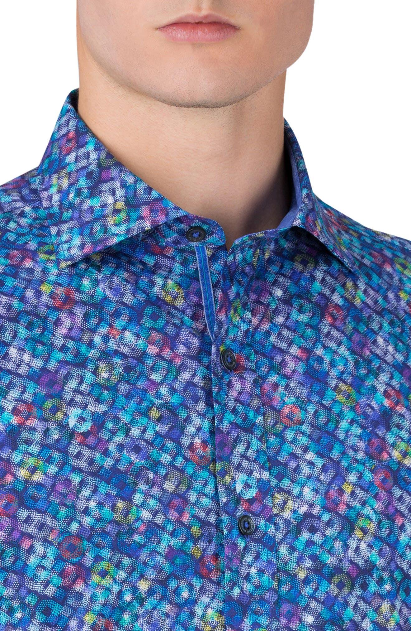 Shaped Fit Print Sport Shirt,                             Alternate thumbnail 3, color,                             411