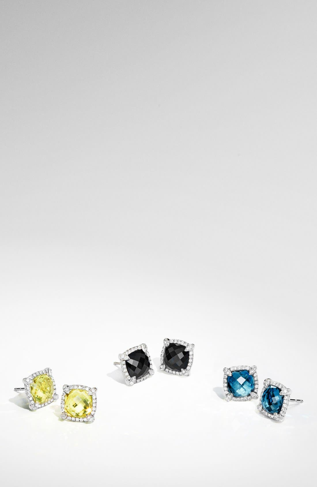 'Châtelaine' Pavé Bezel Stud Earrings with Diamonds,                             Alternate thumbnail 4, color,                             BLACK ONYX