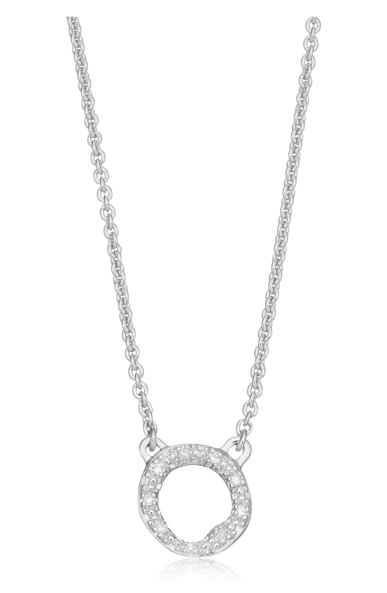 Riva Diamond Circle Pendant Necklace,                             Main thumbnail 1, color,                             SILVER/ DIAMOND