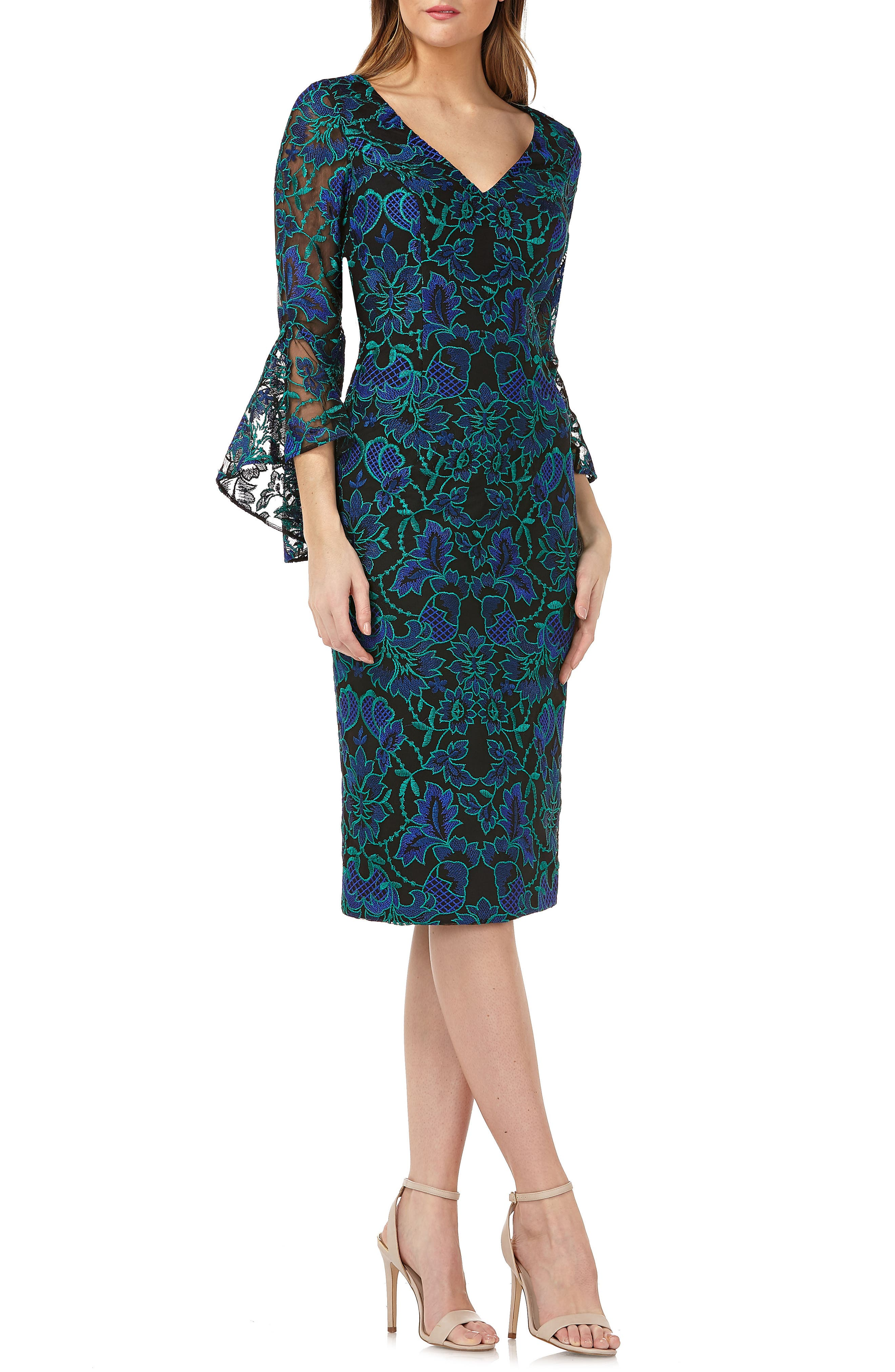 Carmen Marc Valvo Infusion Embroidered Sheath Dress, Blue