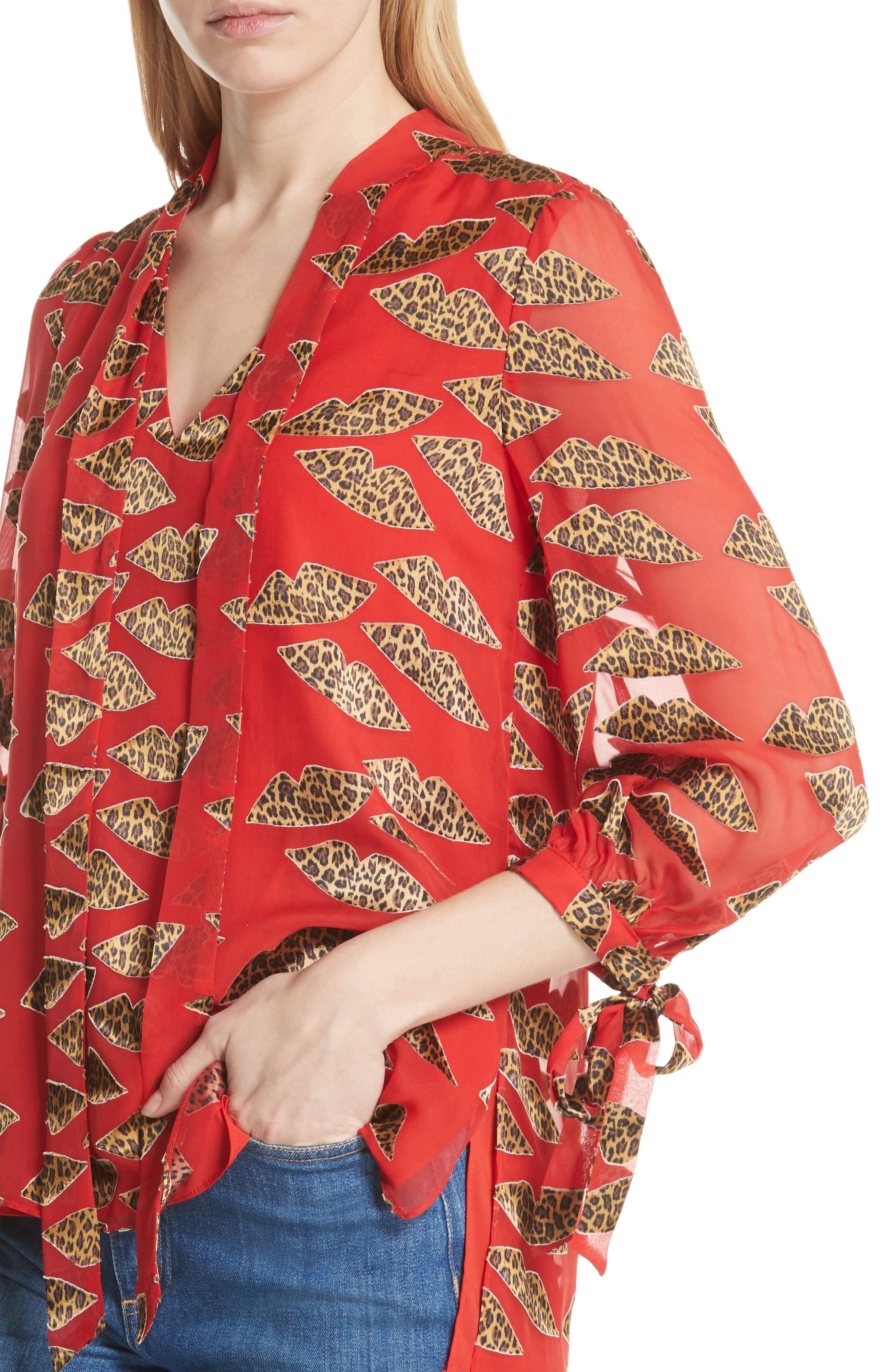 Leopard Lips Blouse,                             Alternate thumbnail 4, color,