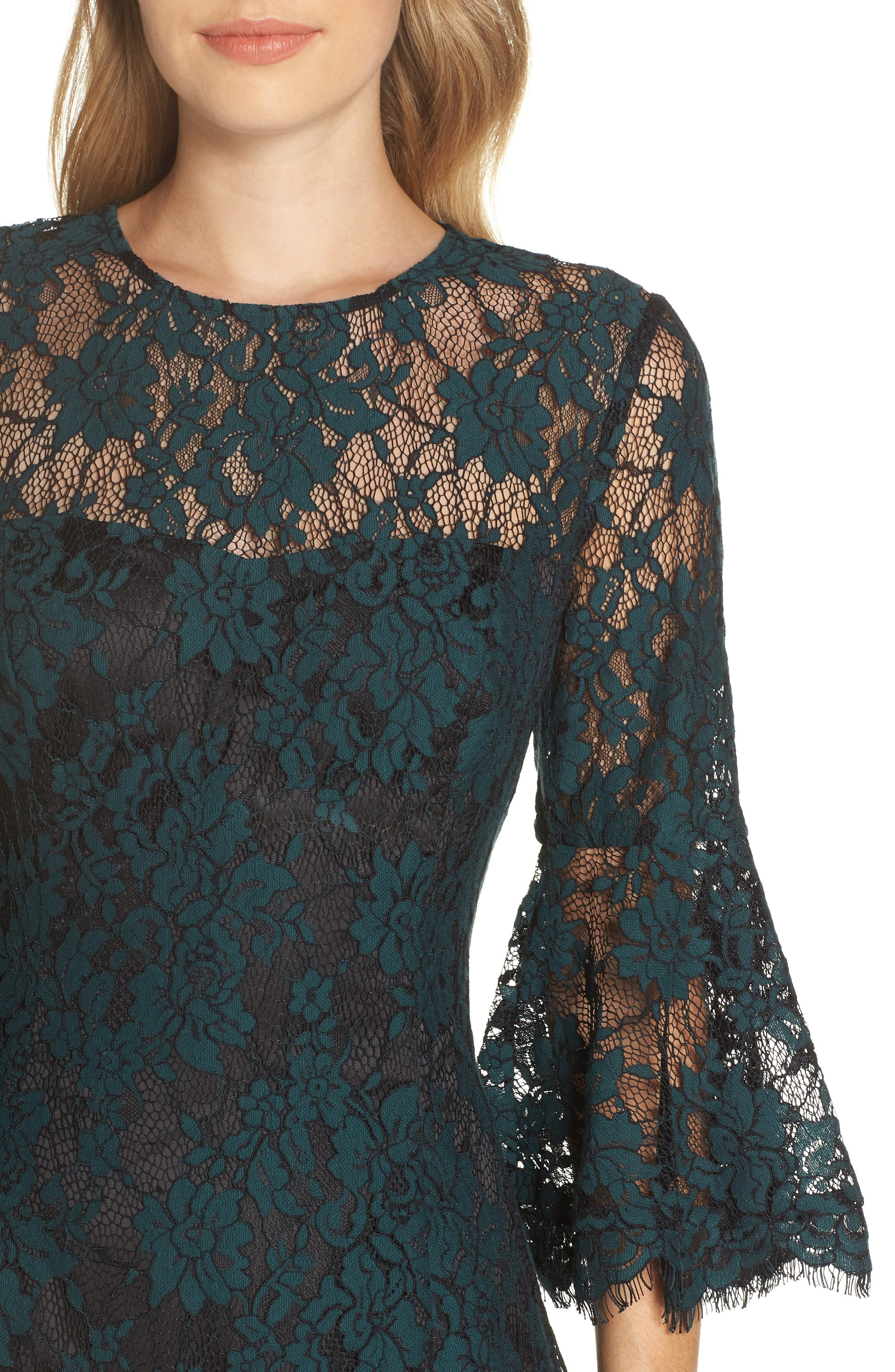 Bell Sleeve Lace Dress,                             Alternate thumbnail 4, color,                             GREEN