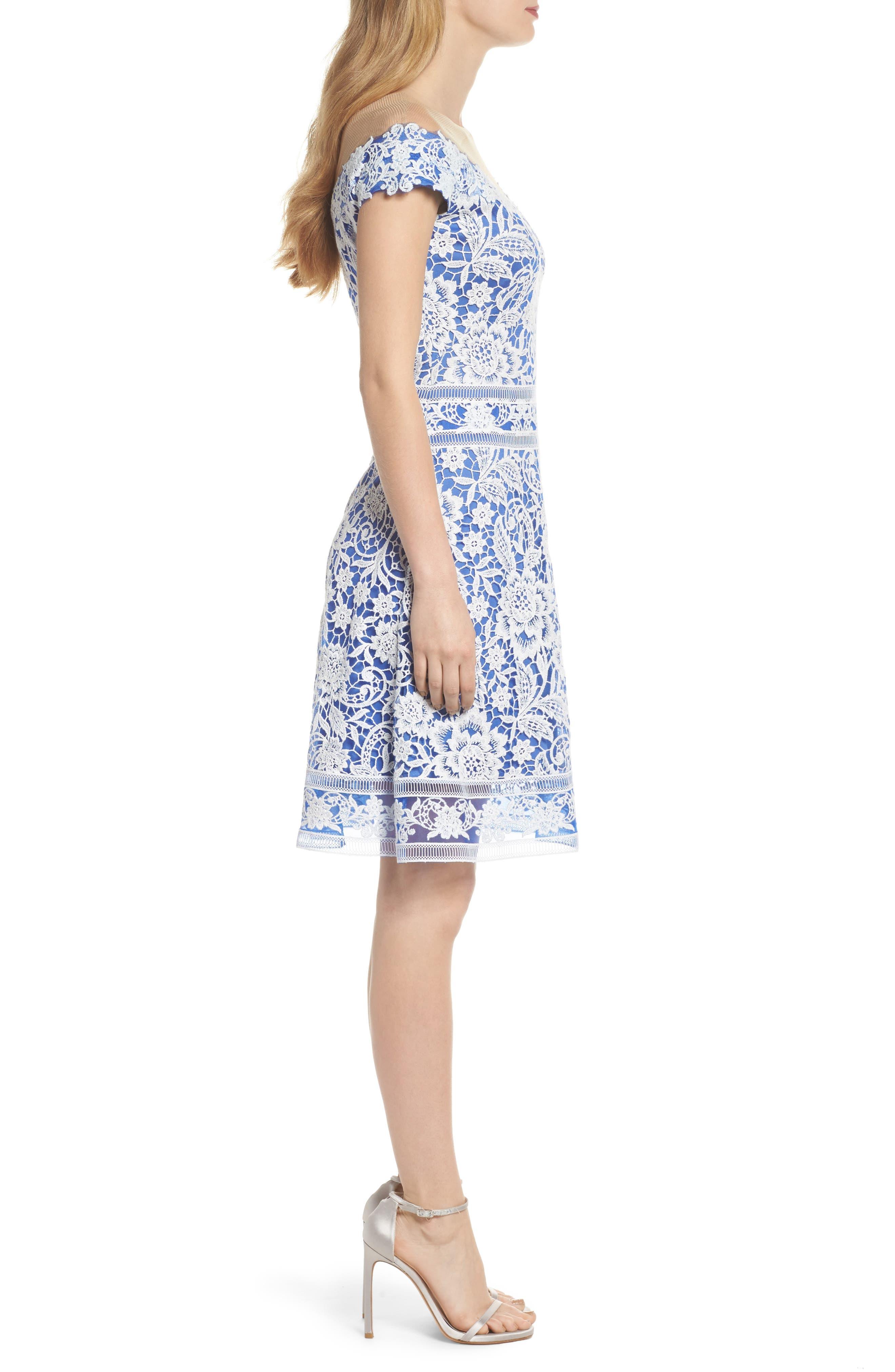 Illusion Neck Crochet Lace Dress,                             Alternate thumbnail 3, color,                             431