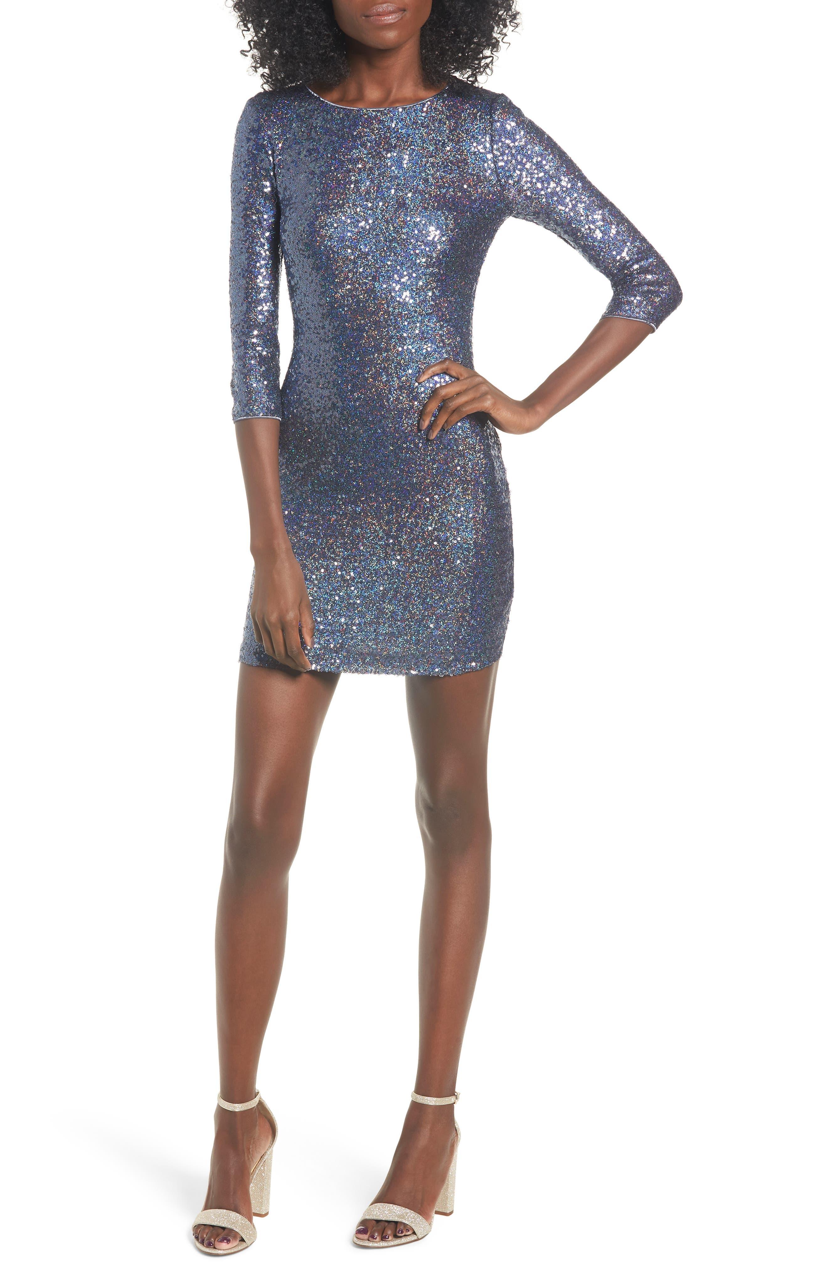 Leith Sequin Body-Con Minidress, Blue