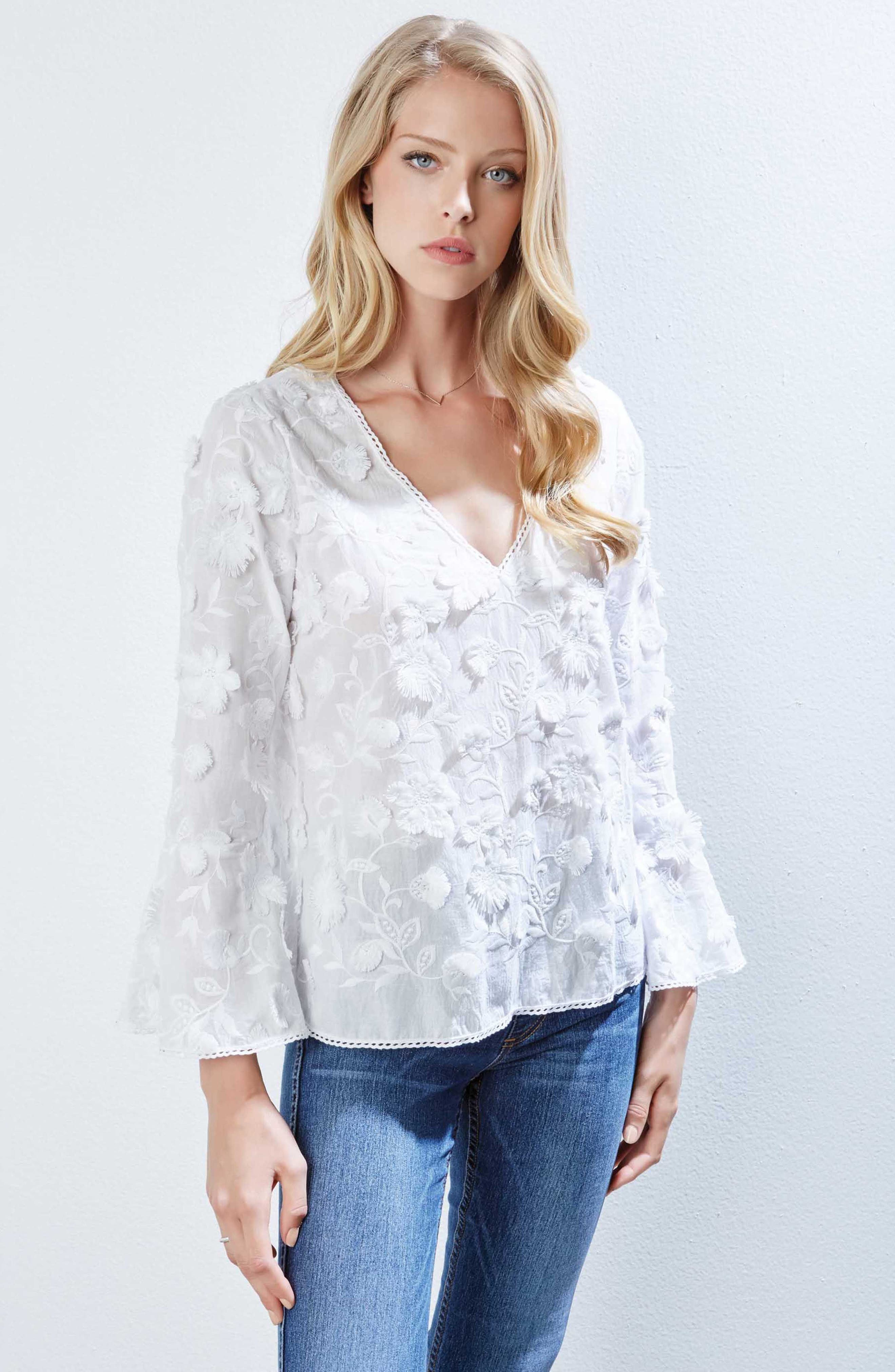 Floral Bell Sleeve Top,                             Alternate thumbnail 3, color,                             100