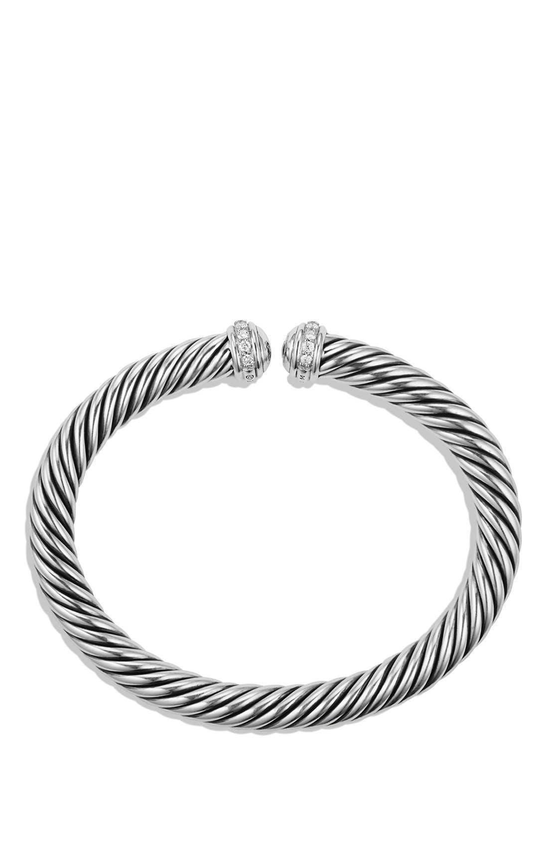 Cable Spira Bracelet with Diamonds, 7mm,                             Alternate thumbnail 3, color,                             DIAMOND
