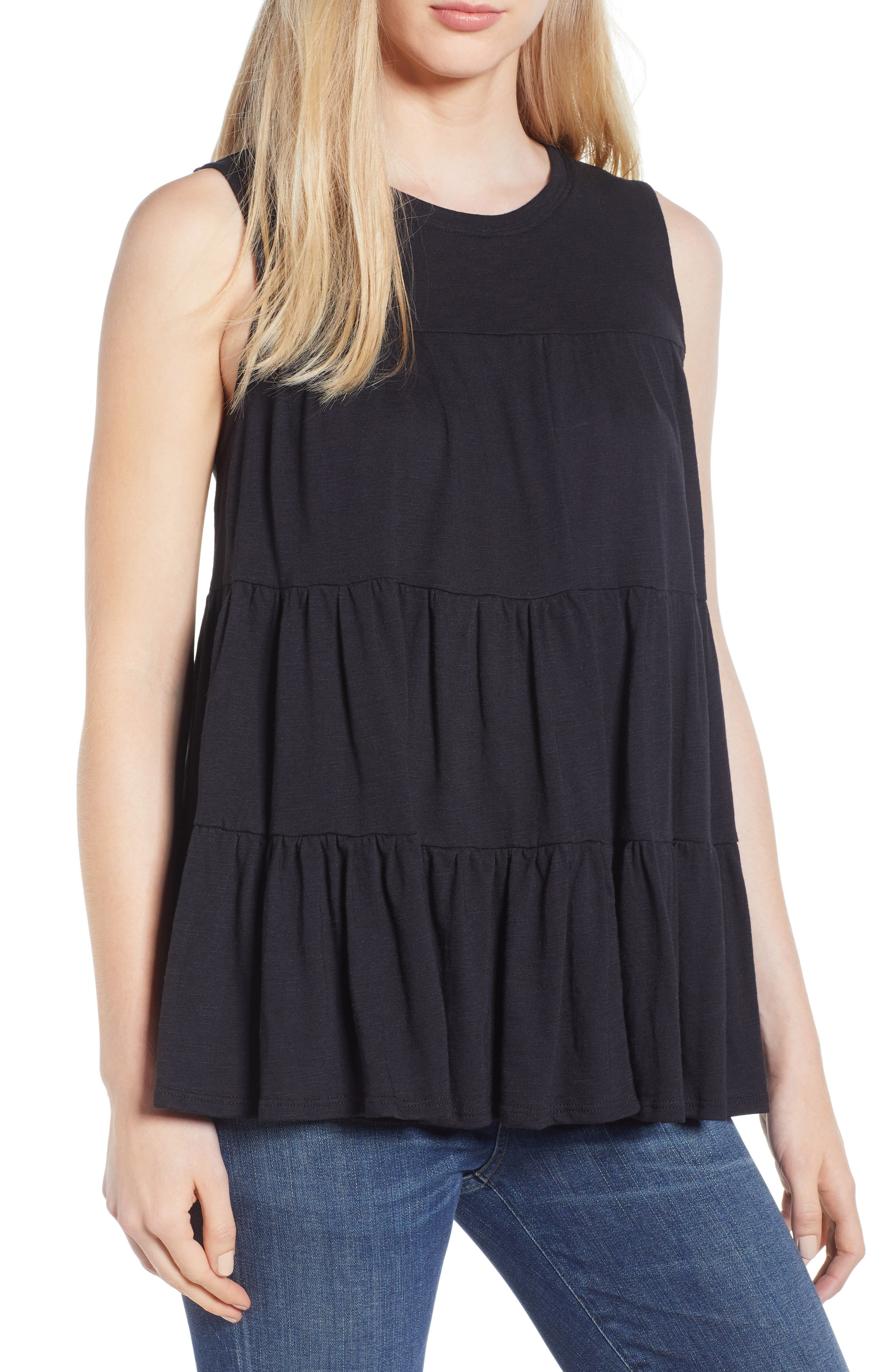 Tiered Ruffle Cotton Blend Tank Top,                         Main,                         color, BLACK