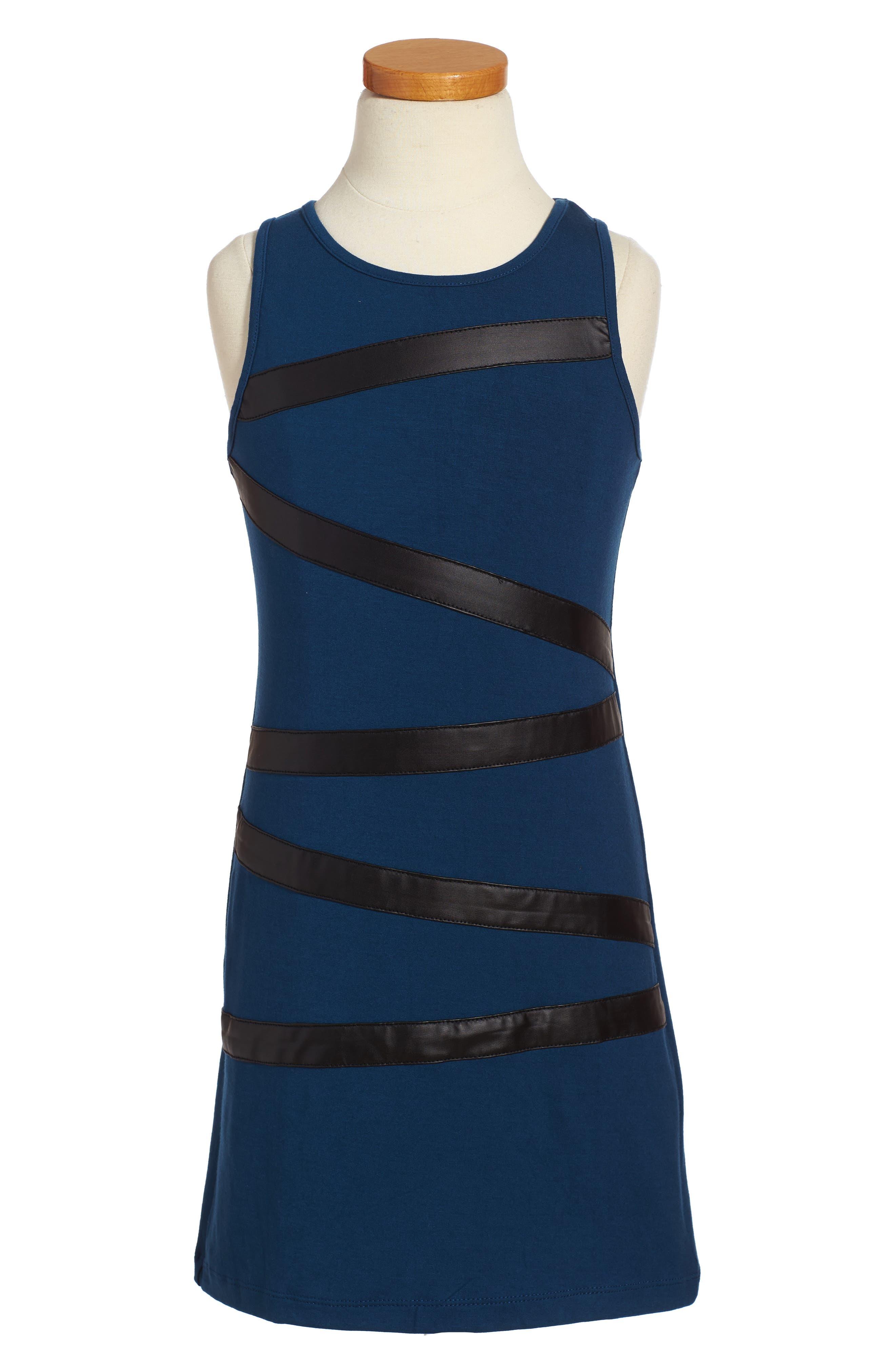 Faux Leather Trim Dress,                             Main thumbnail 1, color,                             410