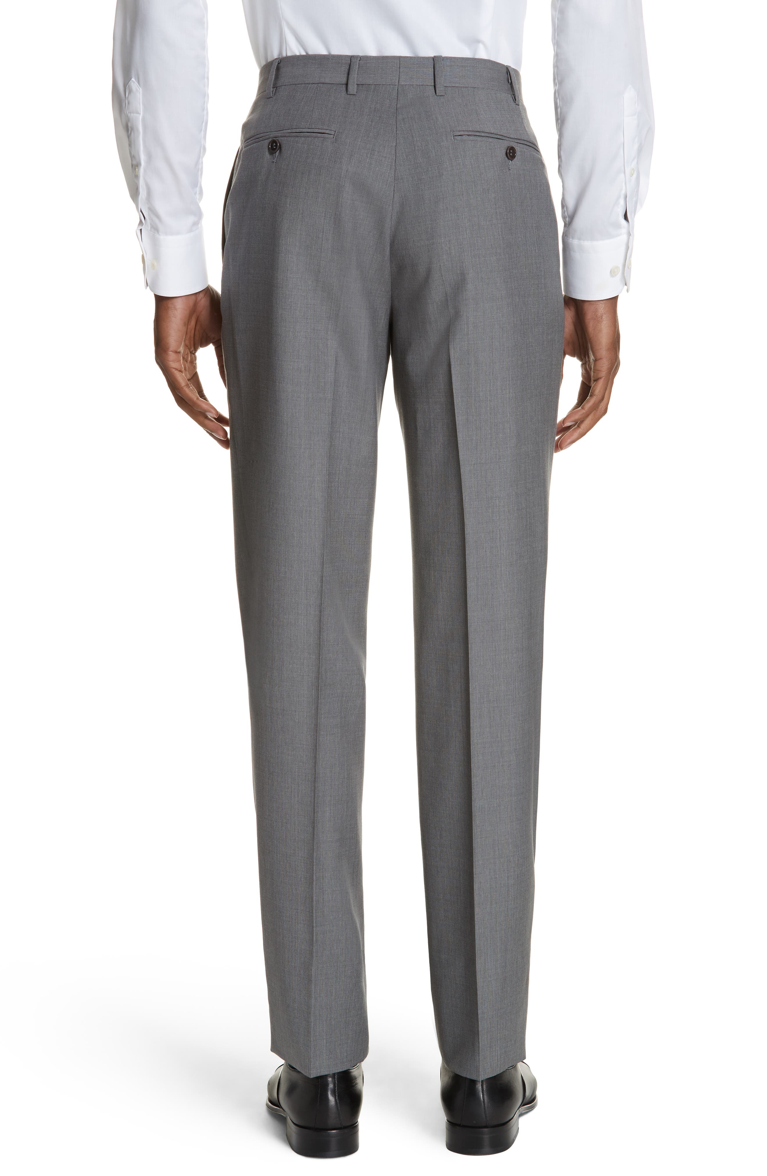 Micro Dot Regular Fit Flat Front Wool Trousers,                             Alternate thumbnail 2, color,                             020