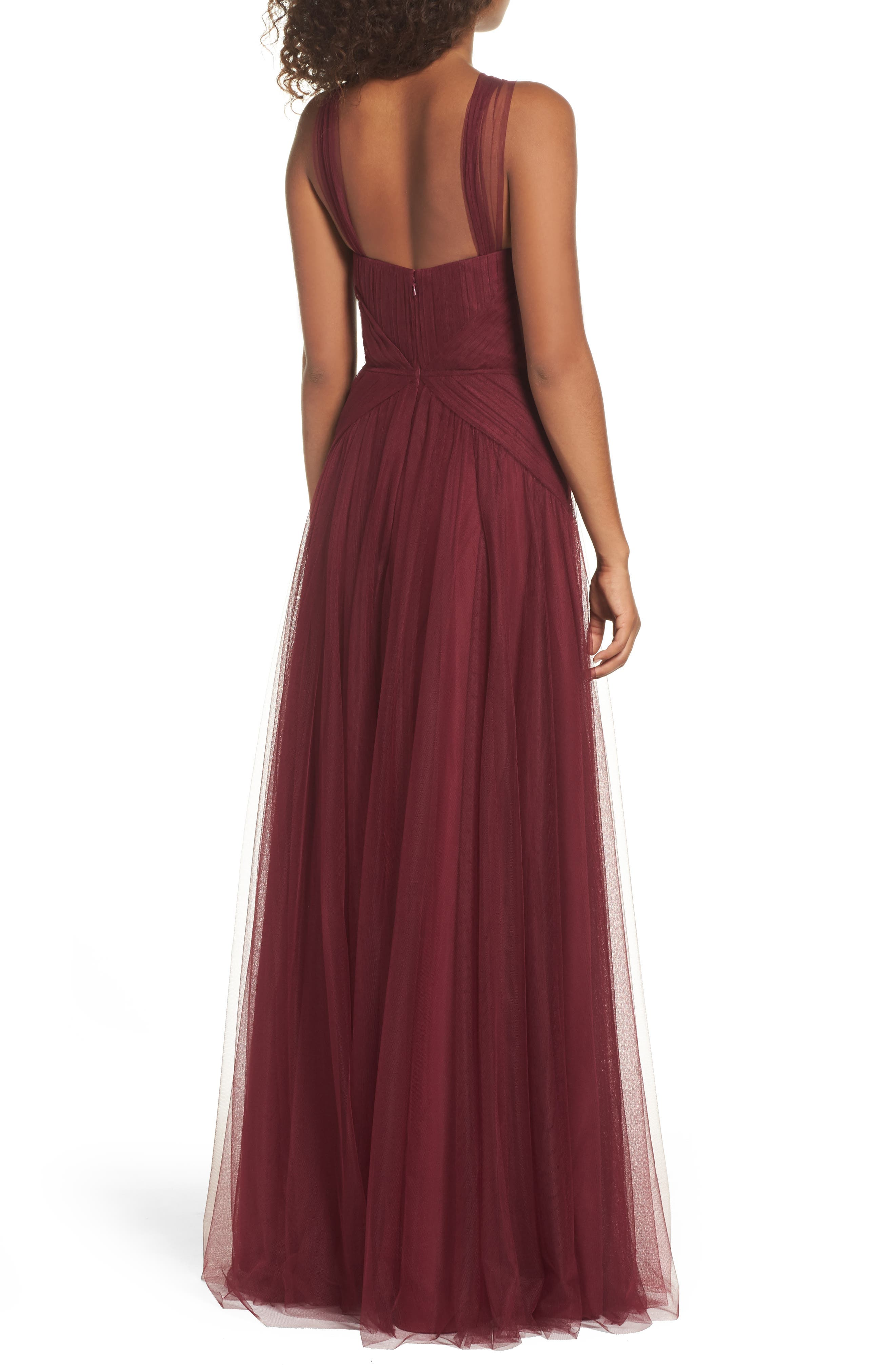 High Neck Pleated English Net Gown,                             Alternate thumbnail 2, color,                             930