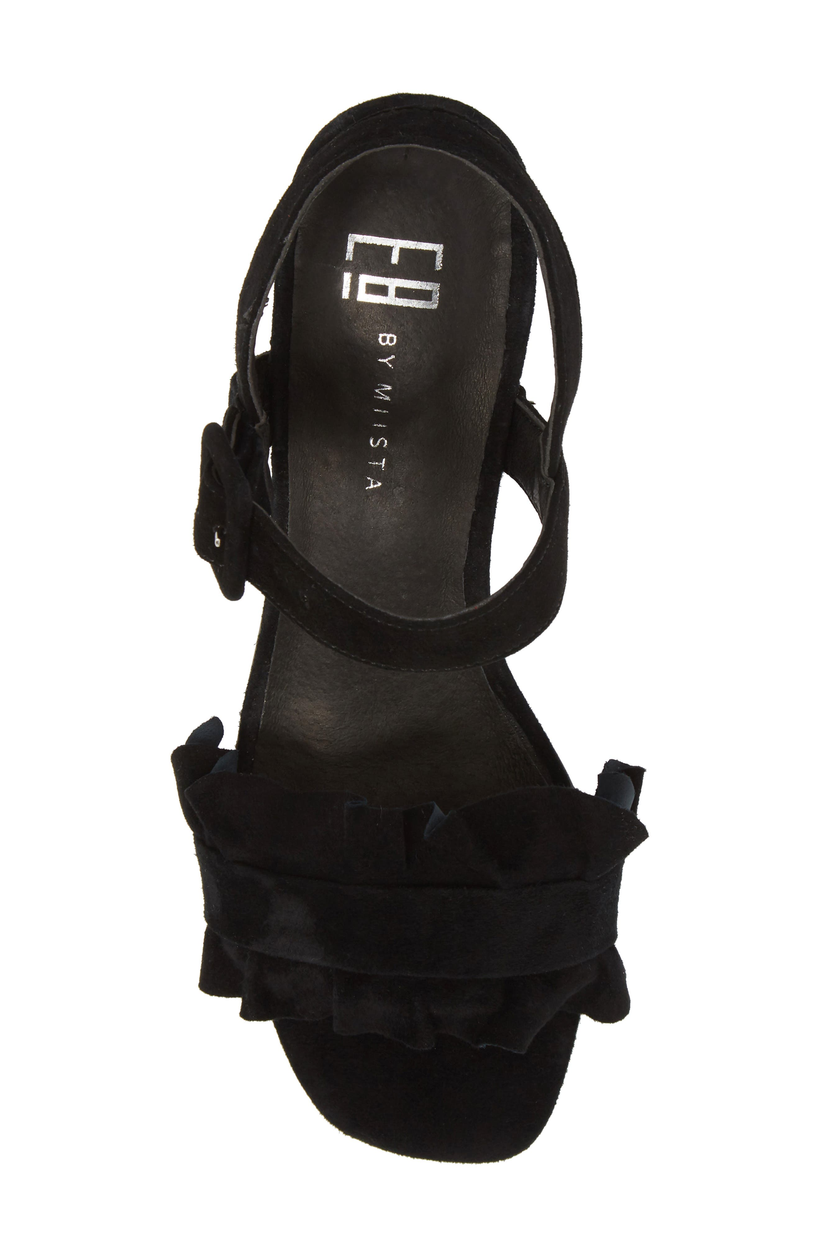 Sandie Block Heel Sandal,                             Alternate thumbnail 5, color,                             BLACK SUEDE