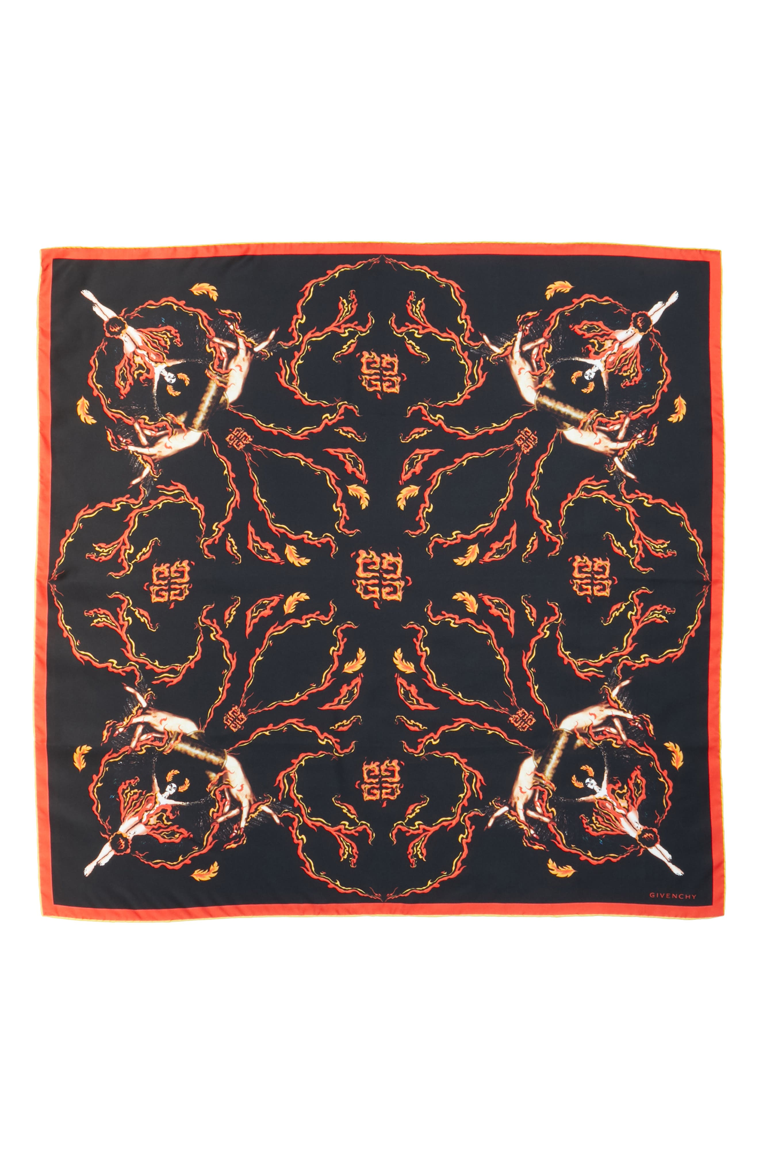 Virgo Silk Scarf,                         Main,                         color, BLACK/ RED