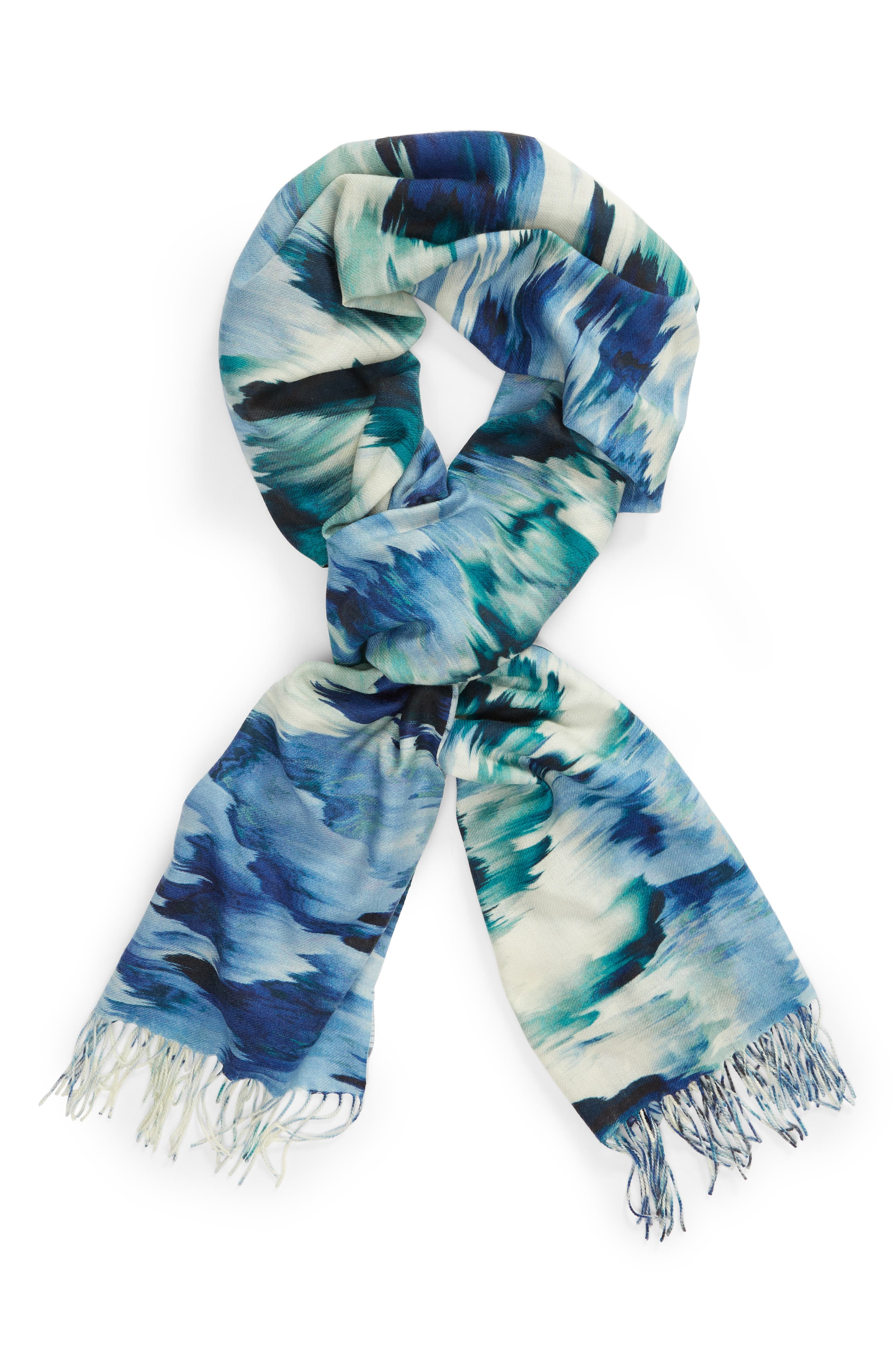 Tissue Print Wool & Cashmere Wrap Scarf,                             Alternate thumbnail 68, color,