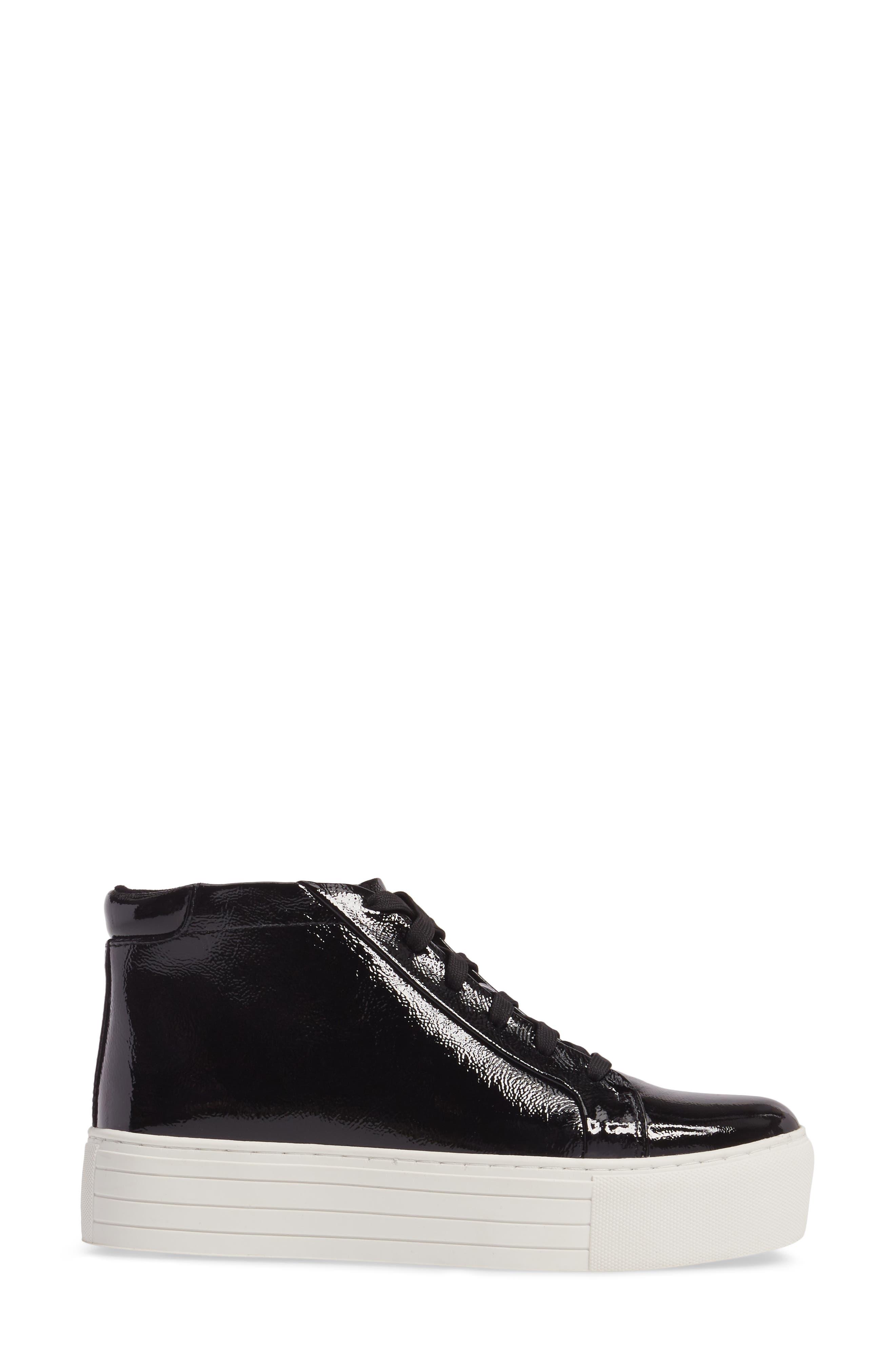 Janette High Top Platform Sneaker,                             Alternate thumbnail 3, color,                             BLACK PATENT LEATHER