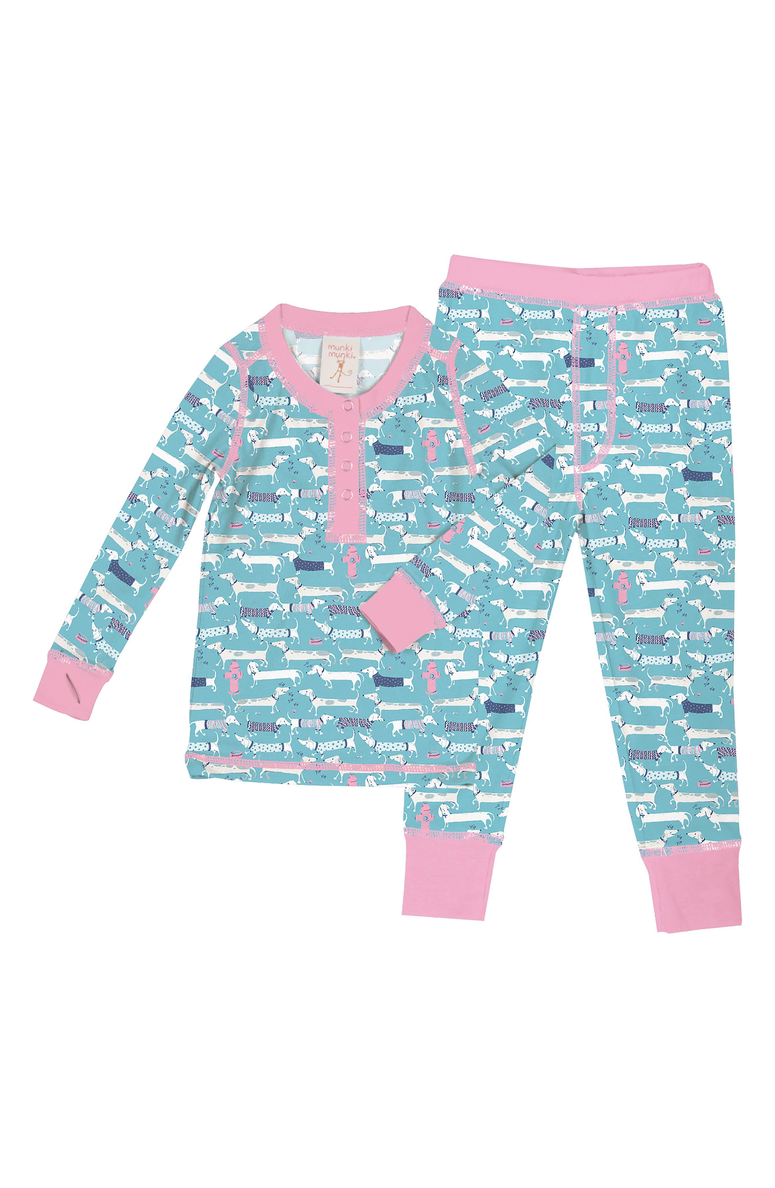 Toddler Girls Munki Munki Sweater Dogs Fitted TwoPiece Pajamas Size 2  Blue
