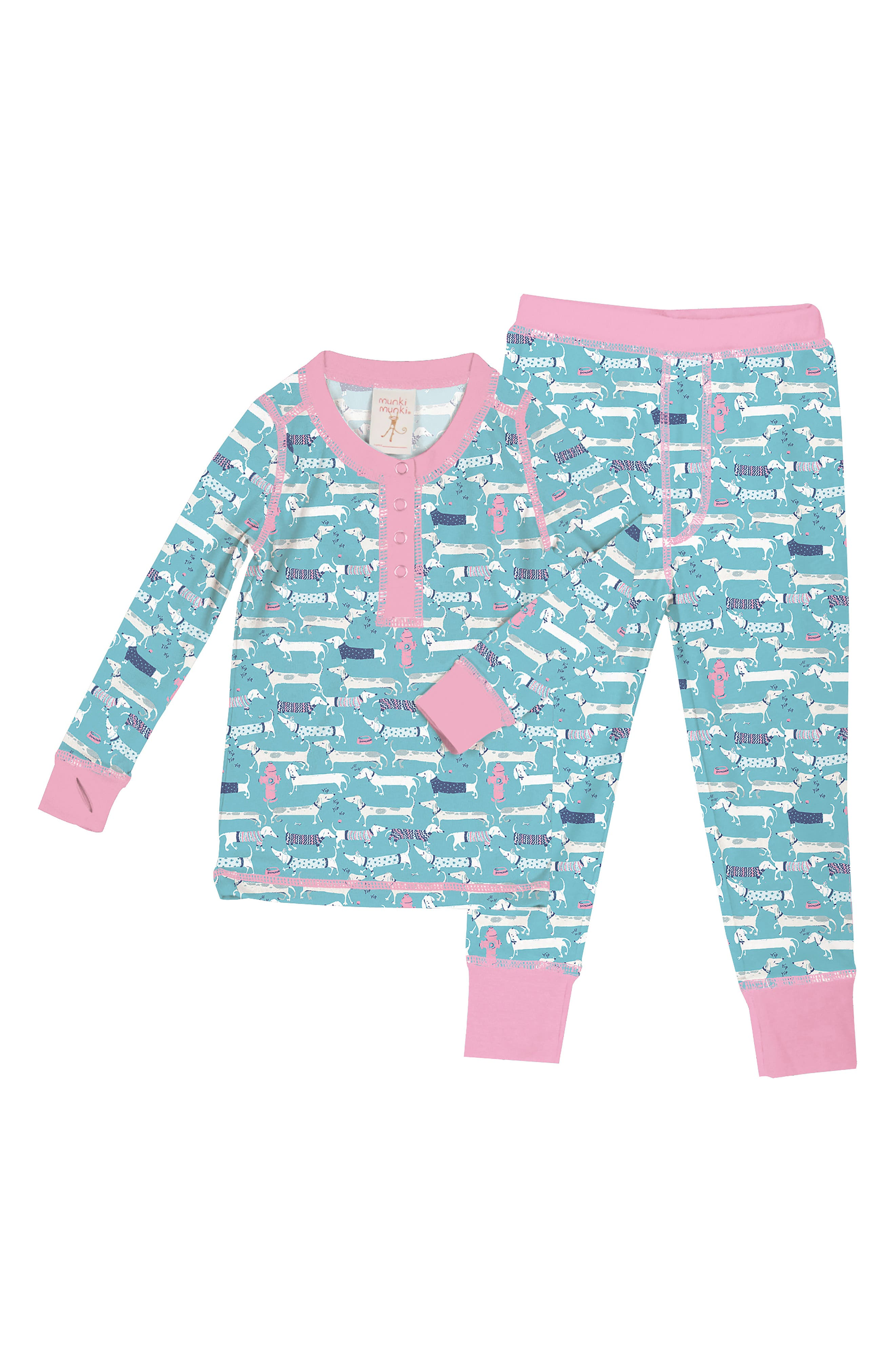 MUNKI MUNKI Sweater Dogs Fitted Two-Piece Pajamas, Main, color, BLUE
