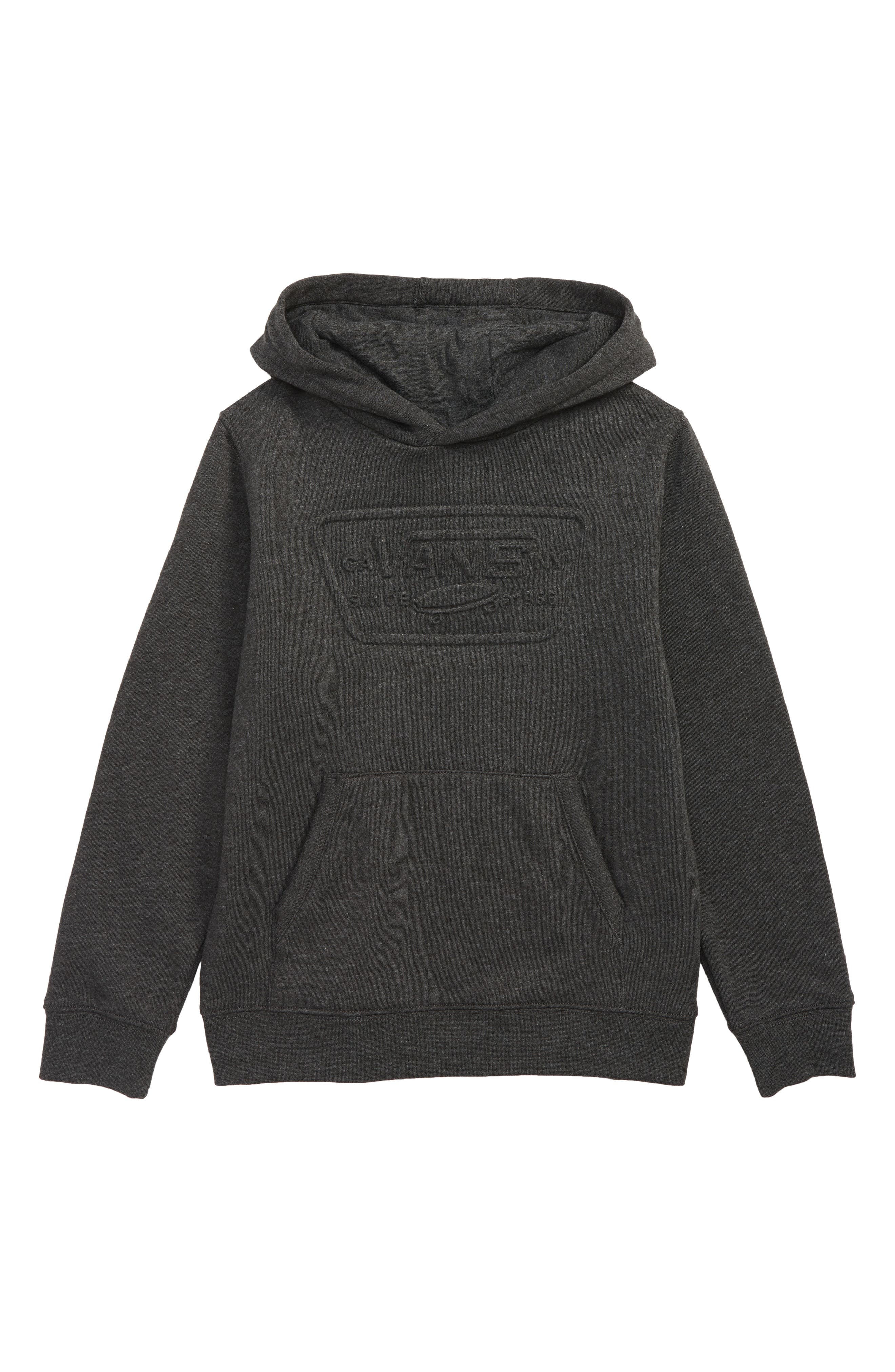 Embossed Full Patch Hoodie,                         Main,                         color, BLACK HEATHER