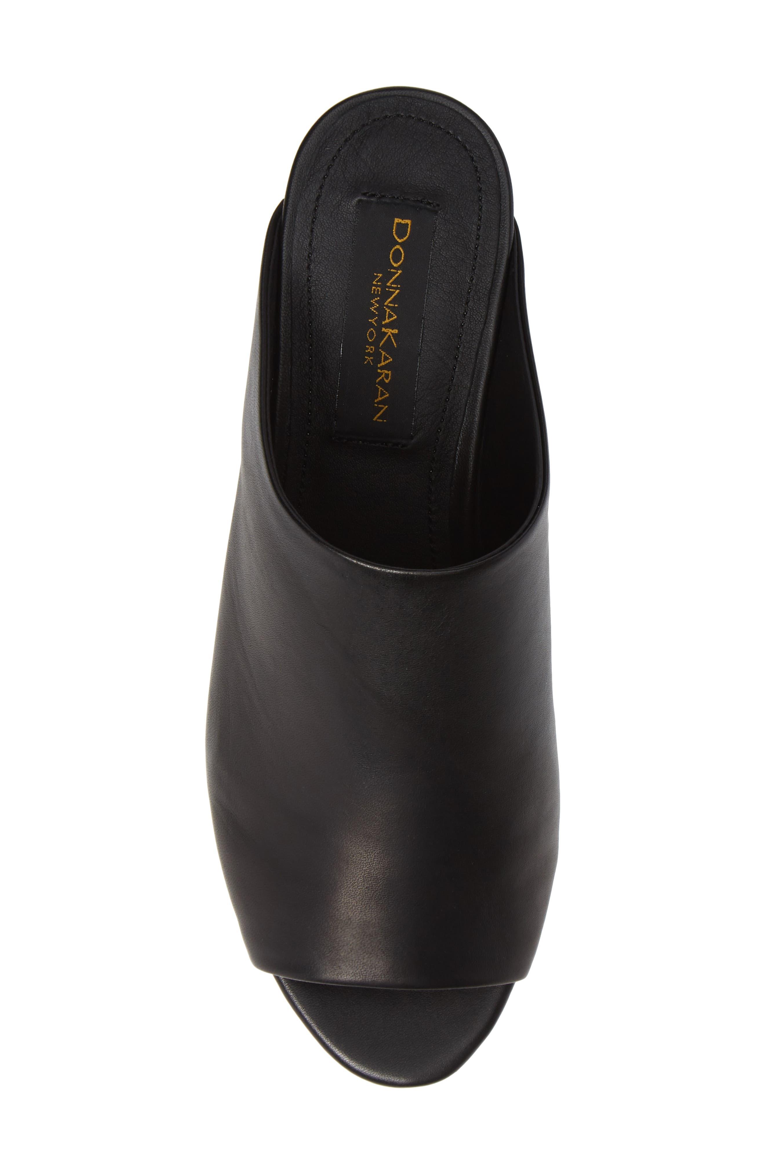 Donna Karan Reisley Wedge Slide Sandal,                             Alternate thumbnail 5, color,                             BLACK LEATHER
