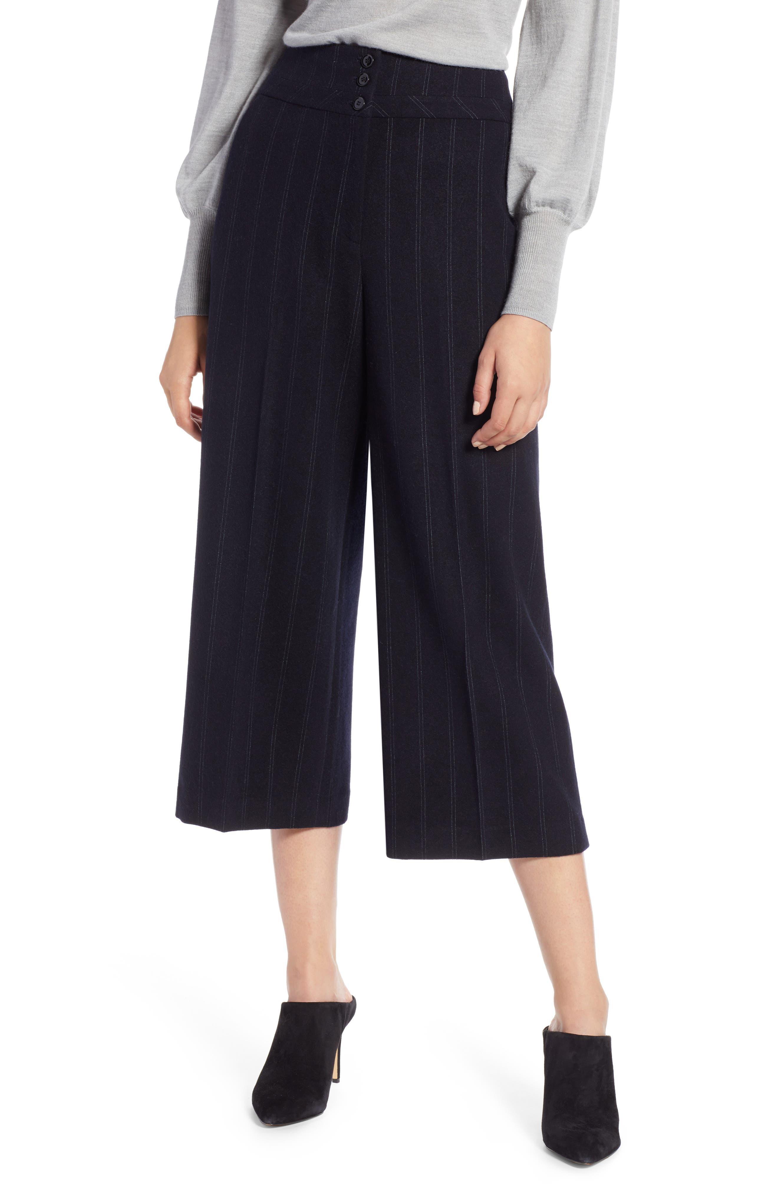 Stripe Wide Leg Crop Suit Pants, Main, color, 410