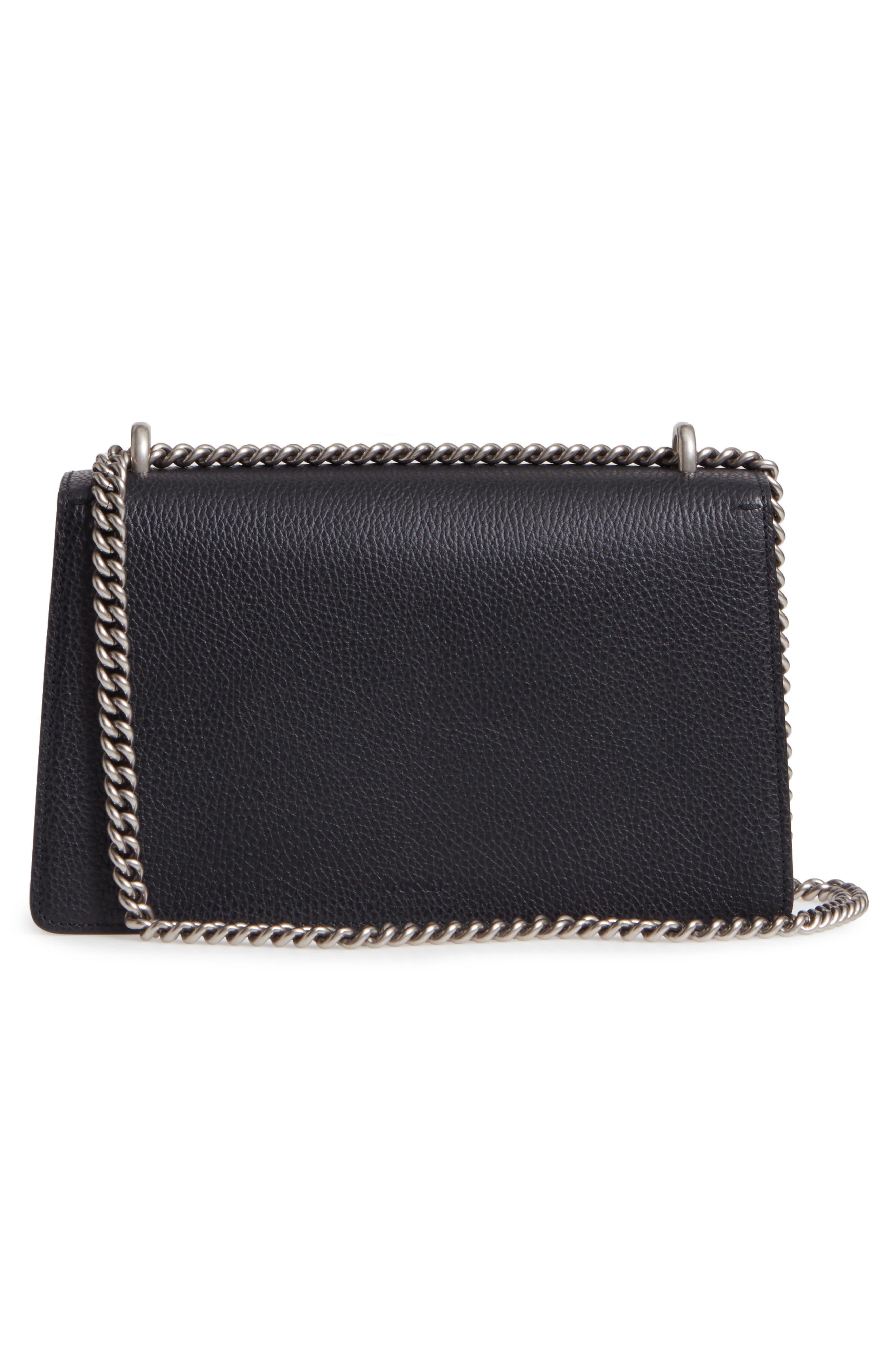 Small Dionysus Leather Shoulder Bag,                             Alternate thumbnail 3, color,                             8176 NERO/BLACK DIAMOND