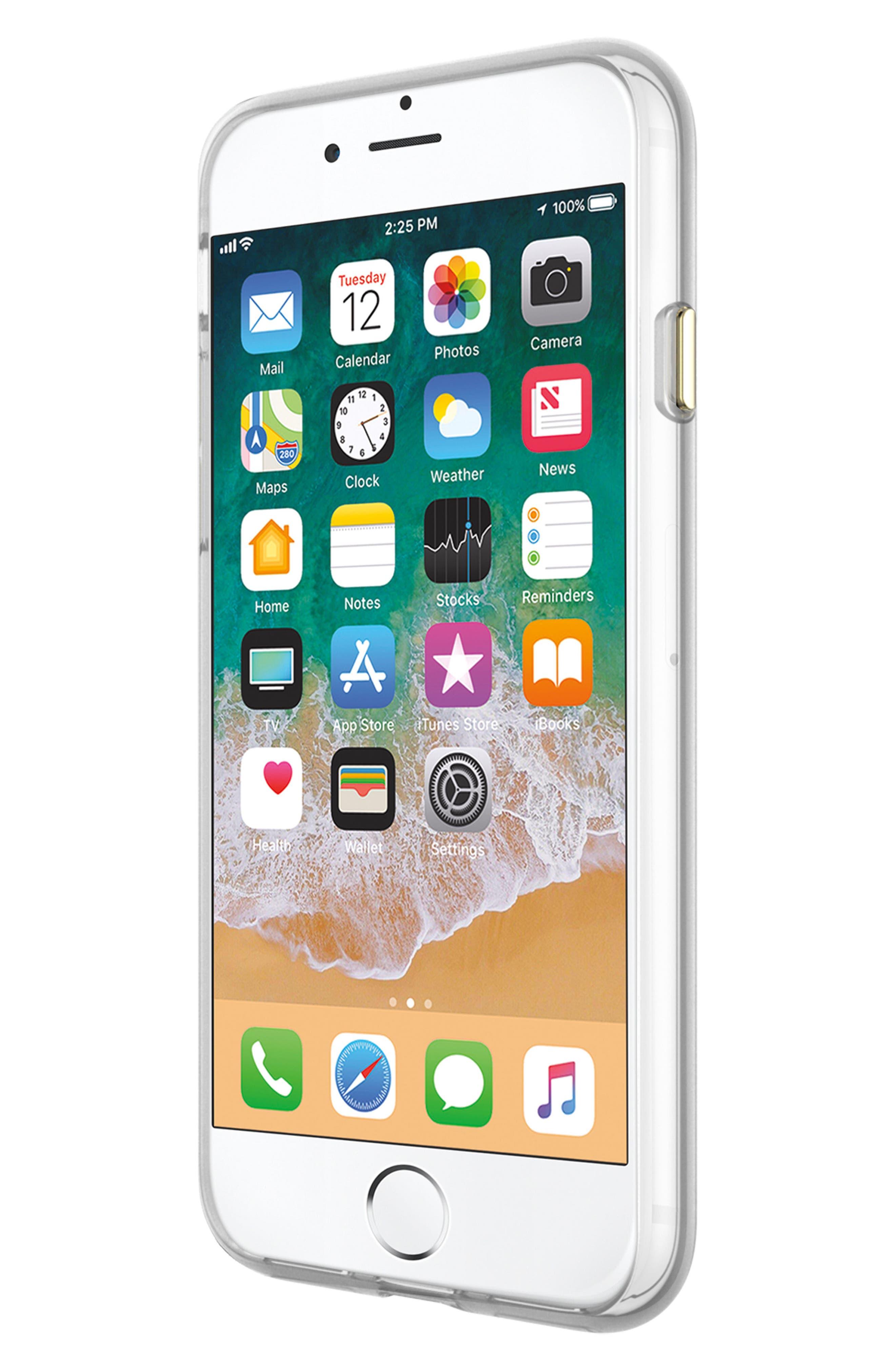 Flower Stud iPhone 7/8 & 7/8 Plus Case,                             Alternate thumbnail 6, color,                             ROSE GOLD/ GOLD STUDS