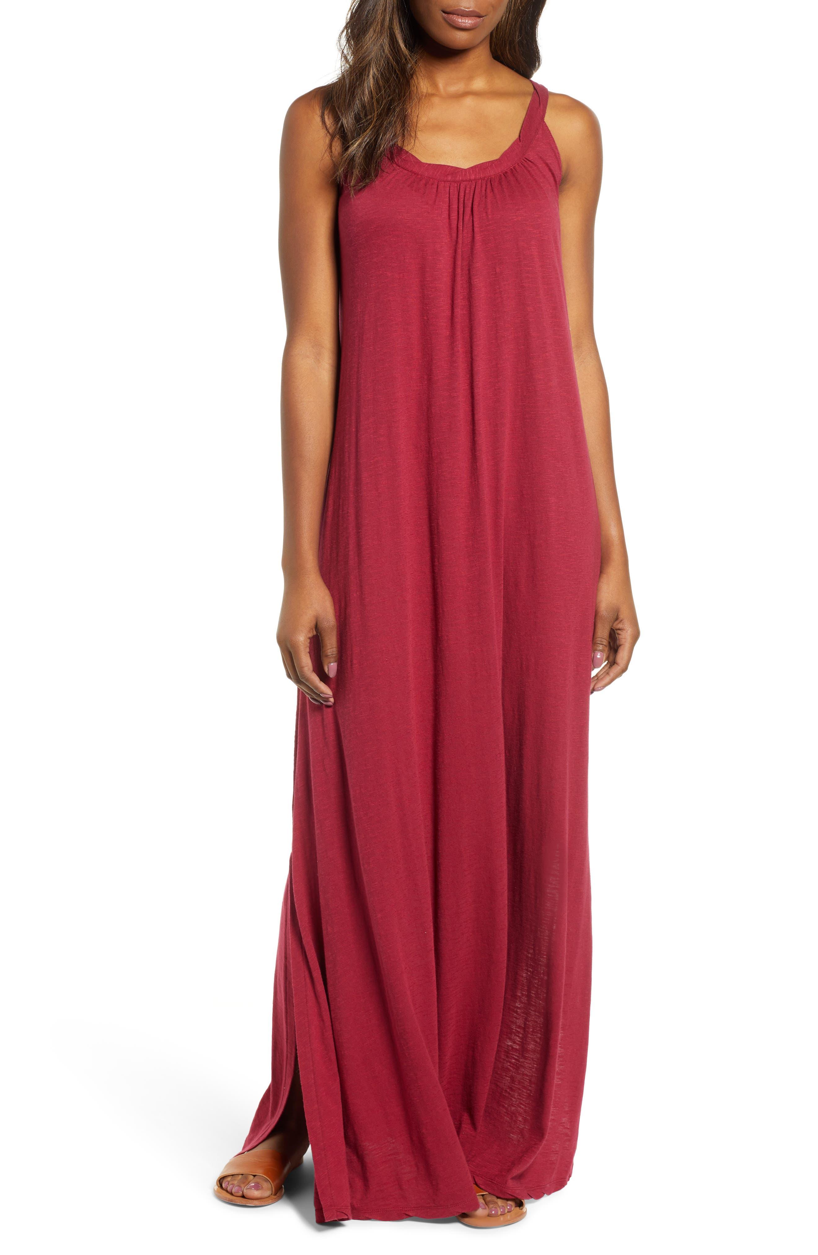 Petite Caslon Twist Neck Maxi Dress, Red