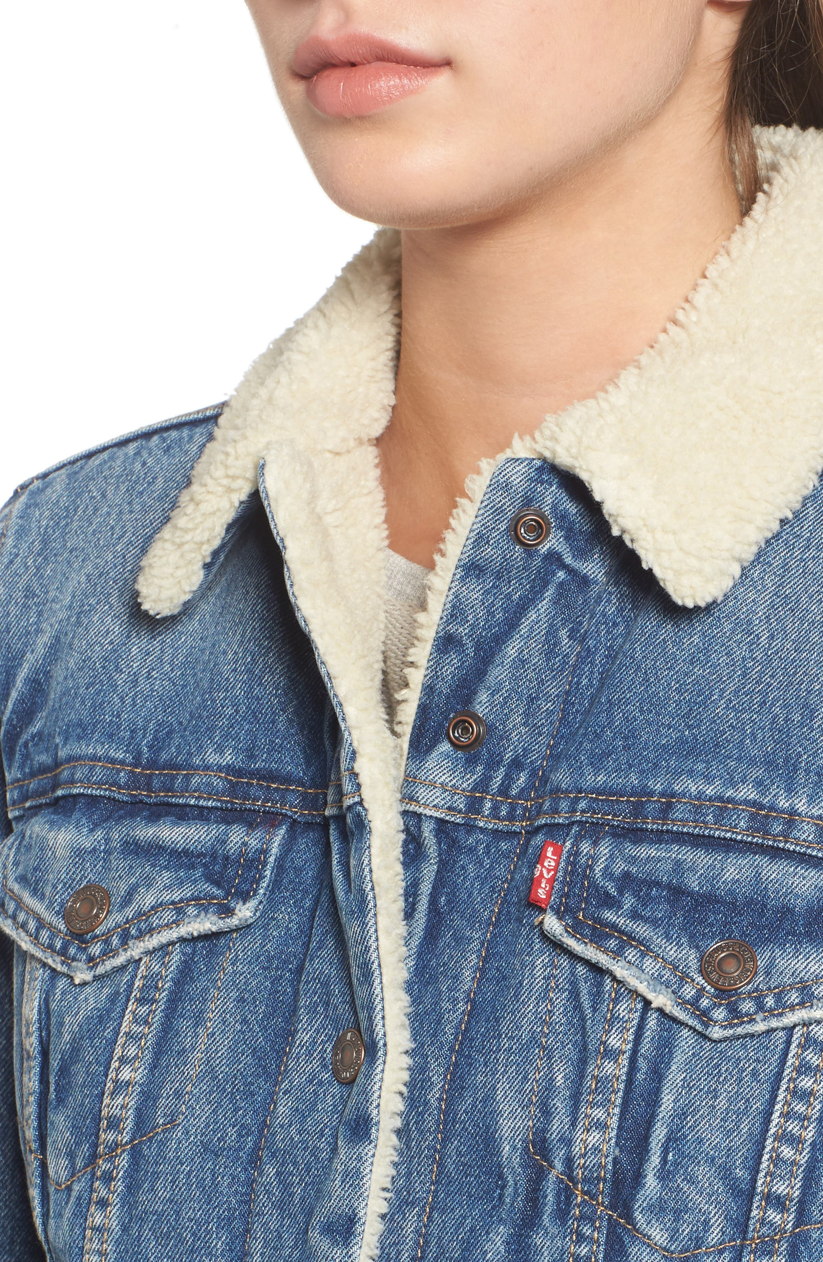 Faux Shearling Lined Denim Trucker Jacket,                             Alternate thumbnail 4, color,                             450