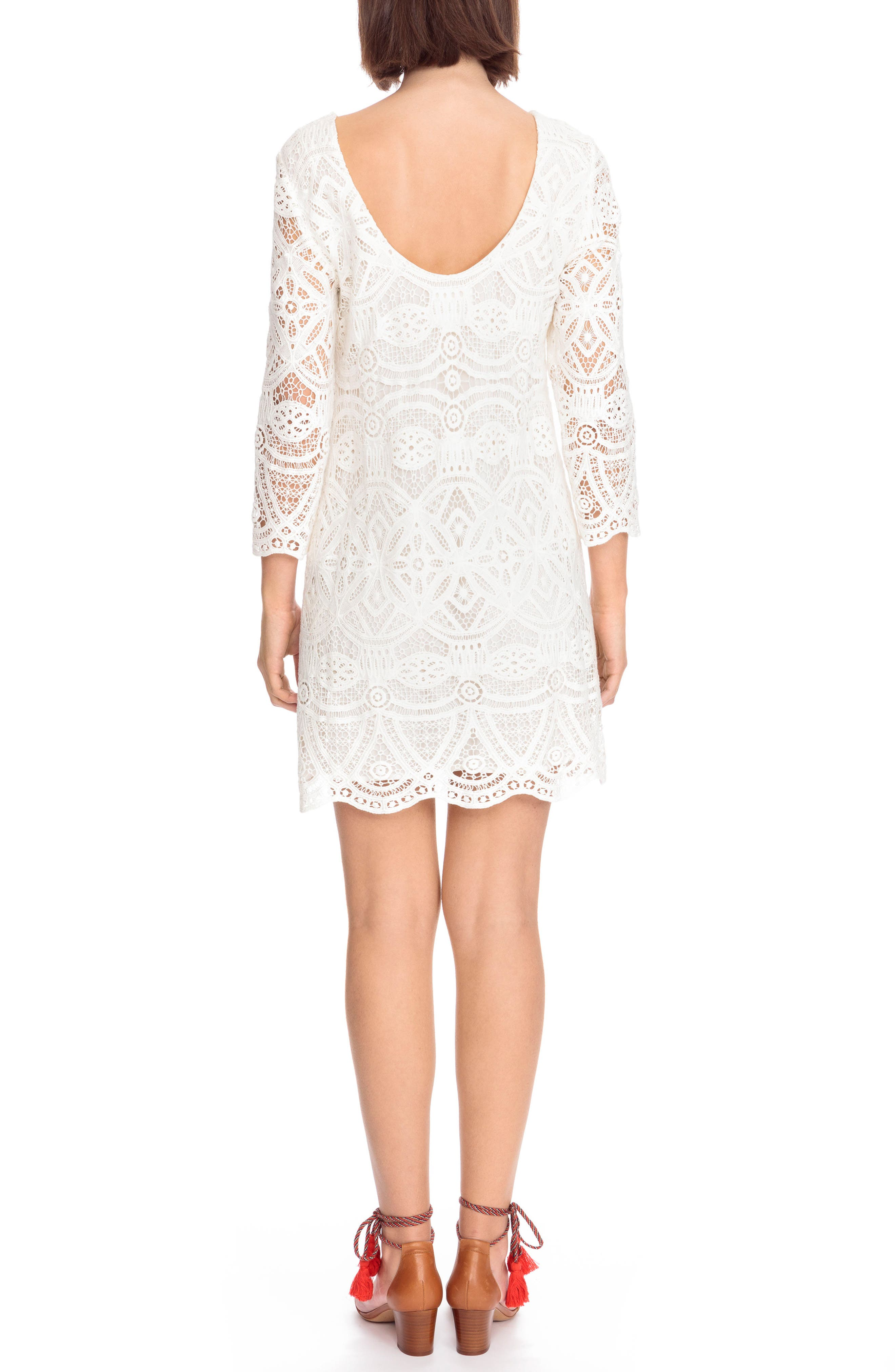 Sarah Lace Shift Dress,                             Alternate thumbnail 2, color,                             100